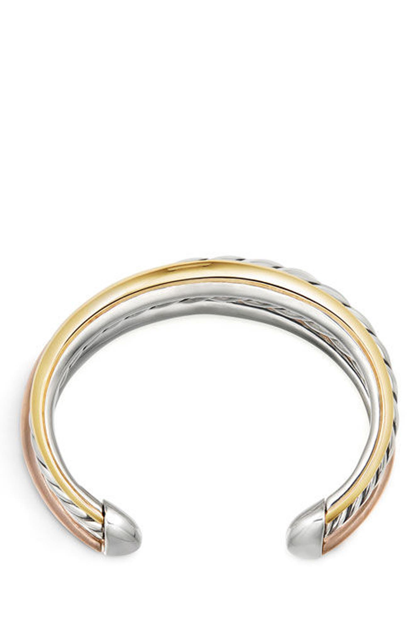 Pure Form Mixed Metal 3-Row Cuff,                             Alternate thumbnail 3, color,                             SILVER