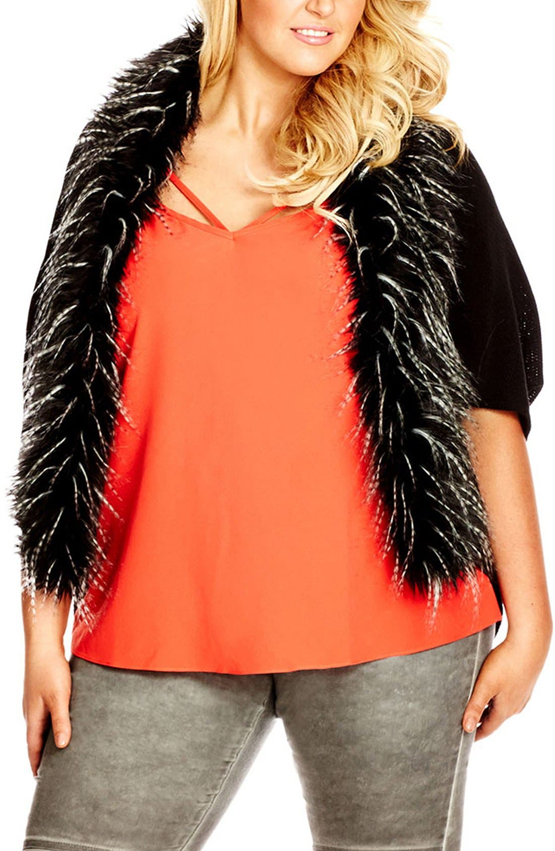 'New Yorker' Faux Fur Trim Cardigan, Main, color, 001
