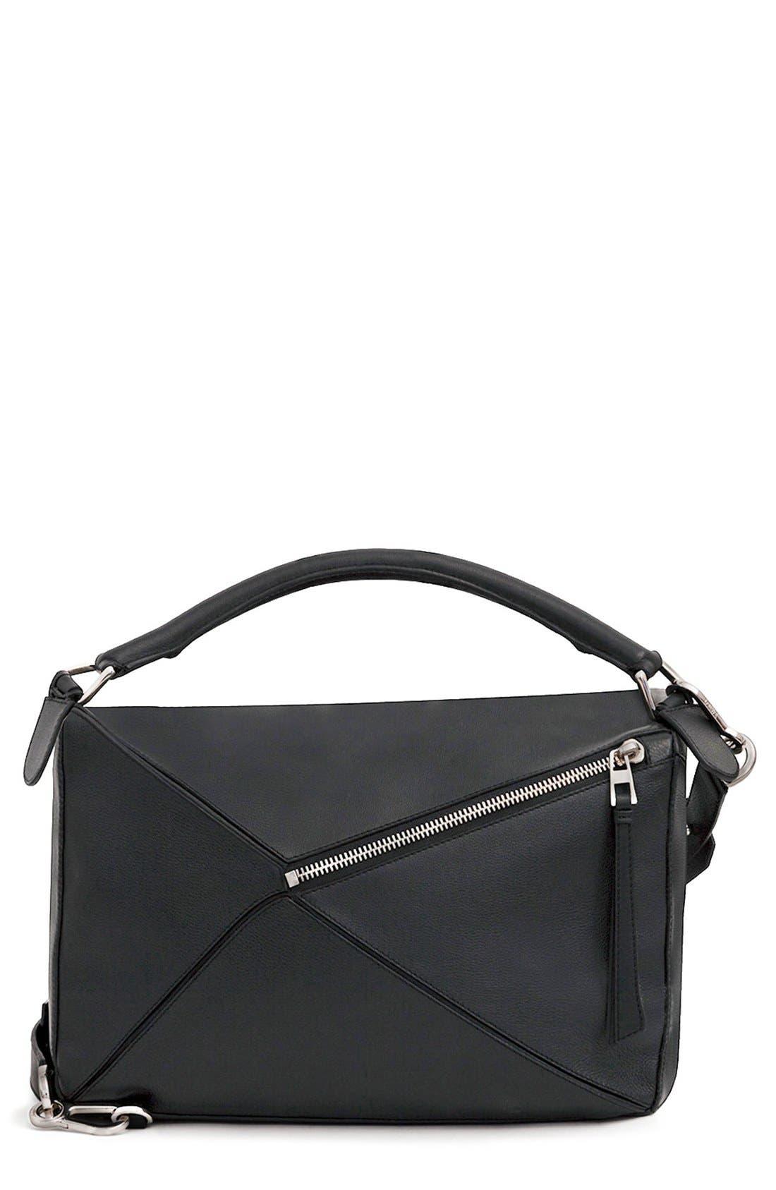 'Large Puzzle' Calfskin Leather Bag,                             Alternate thumbnail 3, color,                             001
