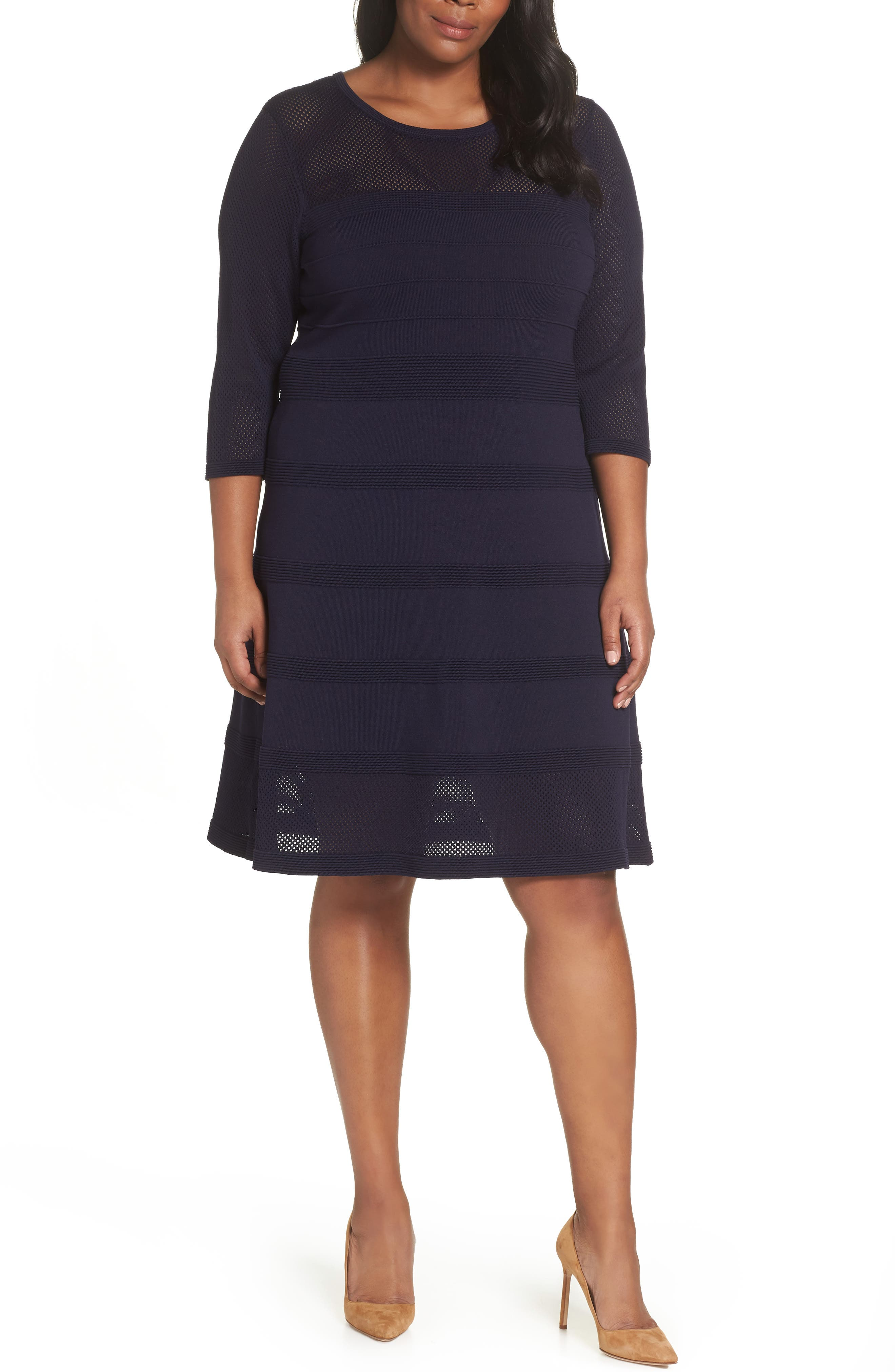 Mixed Stitch Pointelle Fit & Flare Dress,                         Main,                         color, NAVY