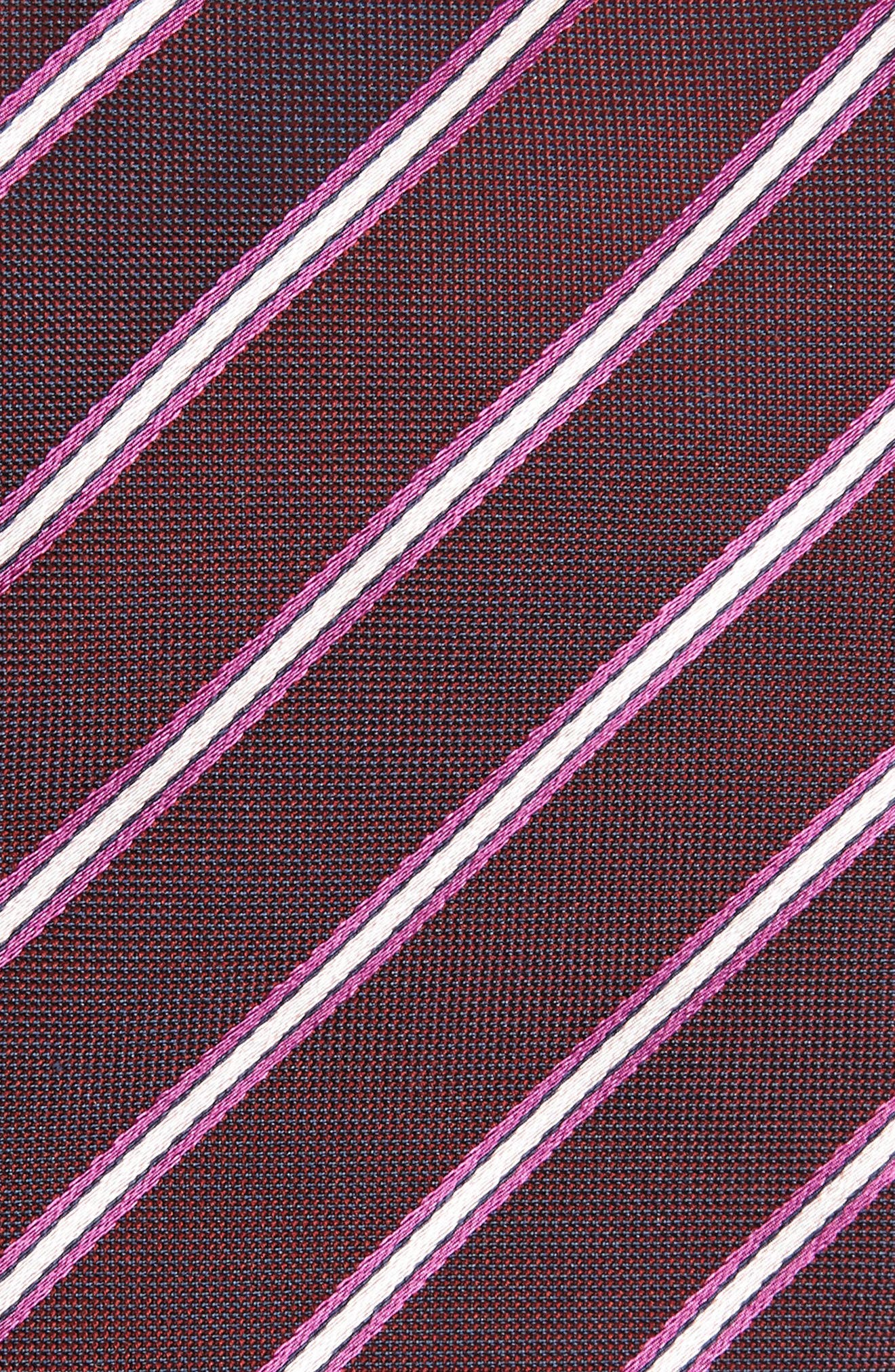 Stripe Silk Tie,                             Alternate thumbnail 2, color,                             BRIGHT RED