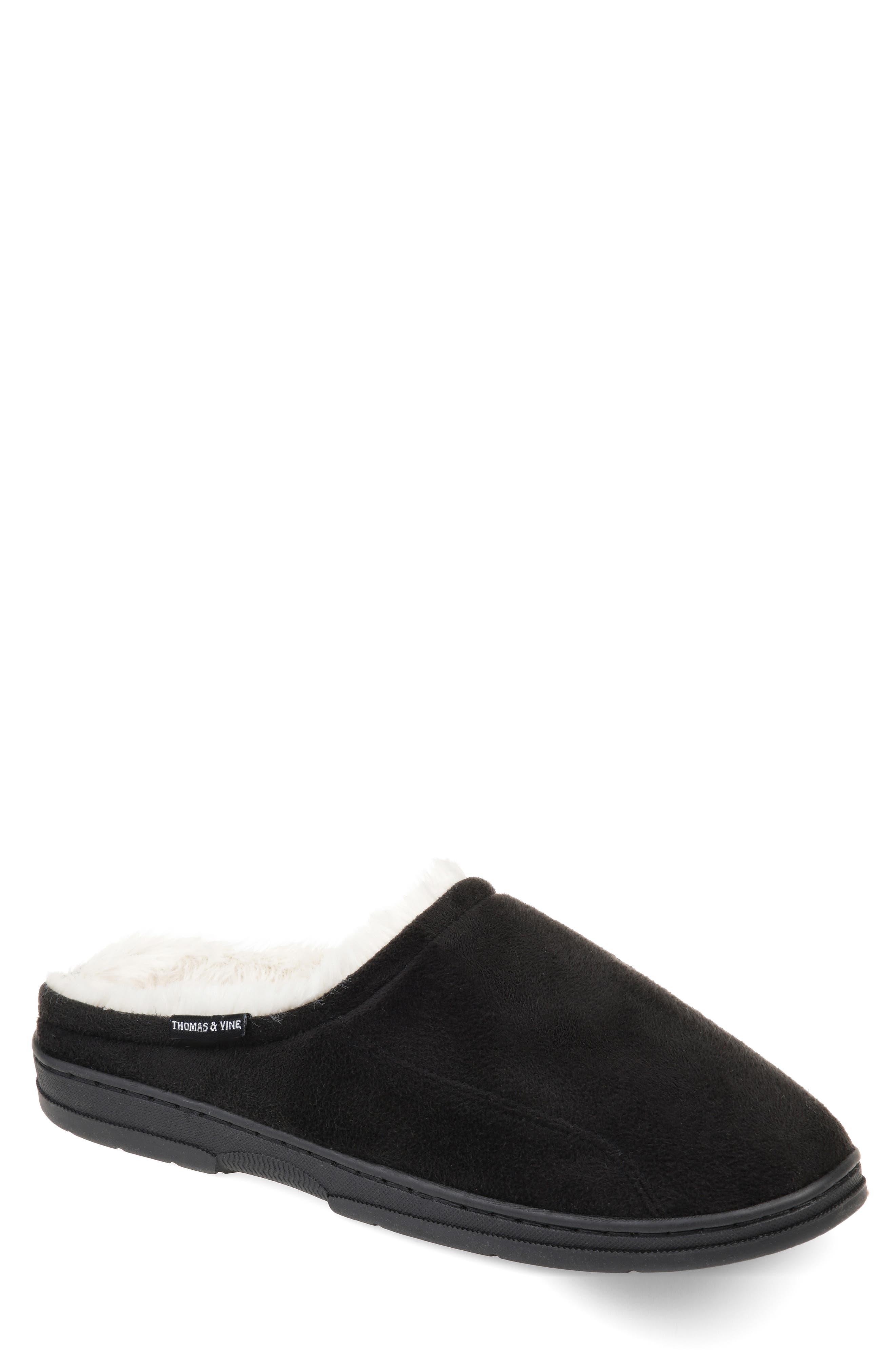 Rodney Faux Fur Slipper,                         Main,                         color, BLACK FAUX SUEDE