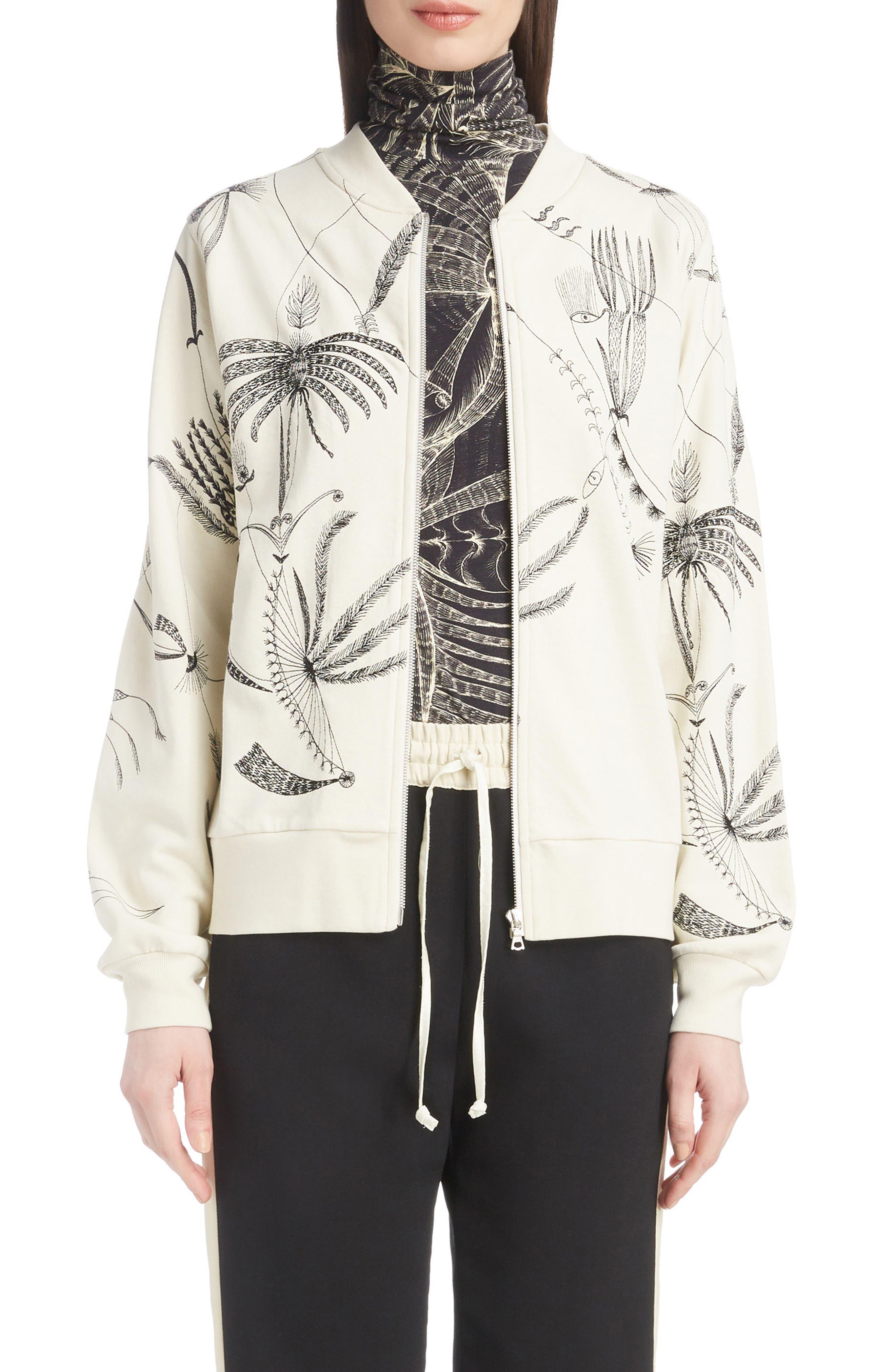 Zip Front Sweatshirt,                         Main,                         color, ECRU