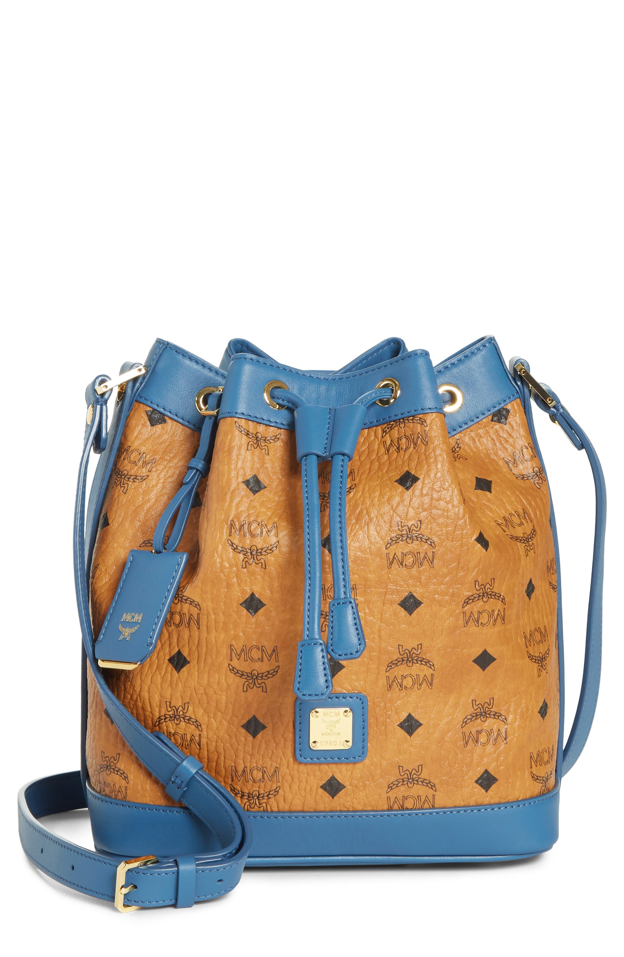 Small Visetos Drawstring Crossbody Bag,                             Main thumbnail 1, color,                             COGNAC/ SLATE BLUE