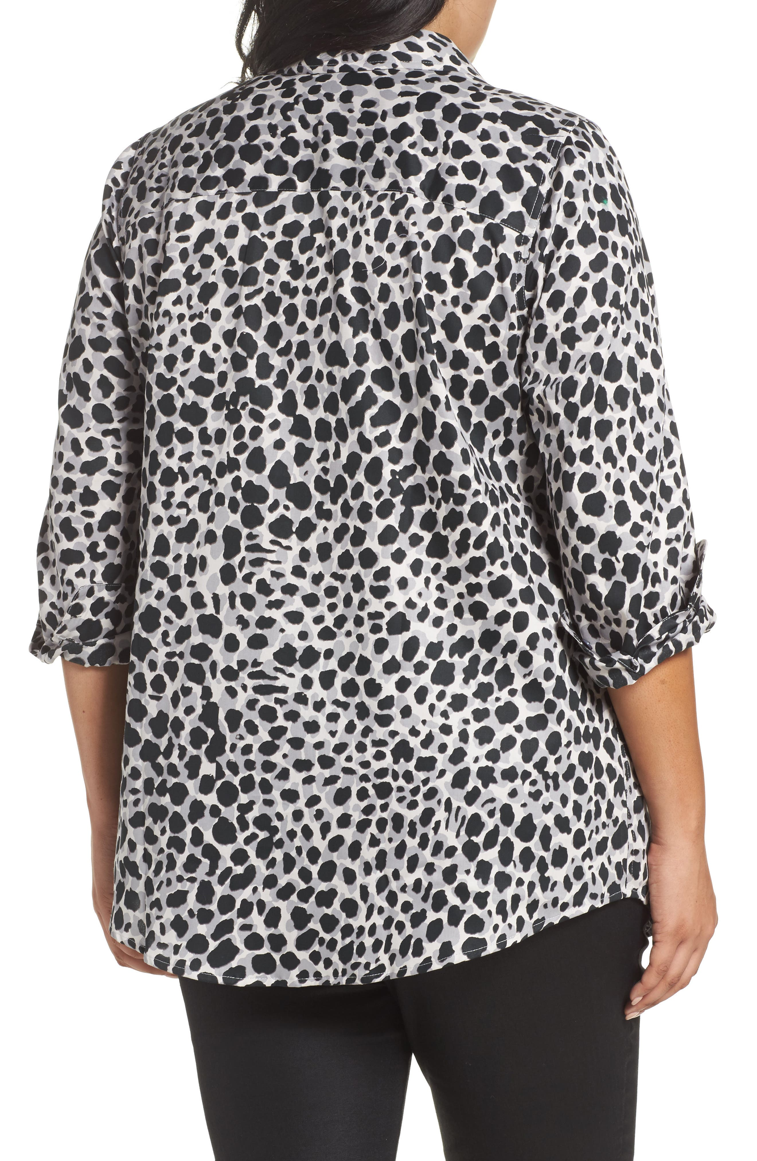 Fay Animal Print Cotton Tunic Shirt,                             Alternate thumbnail 2, color,                             050