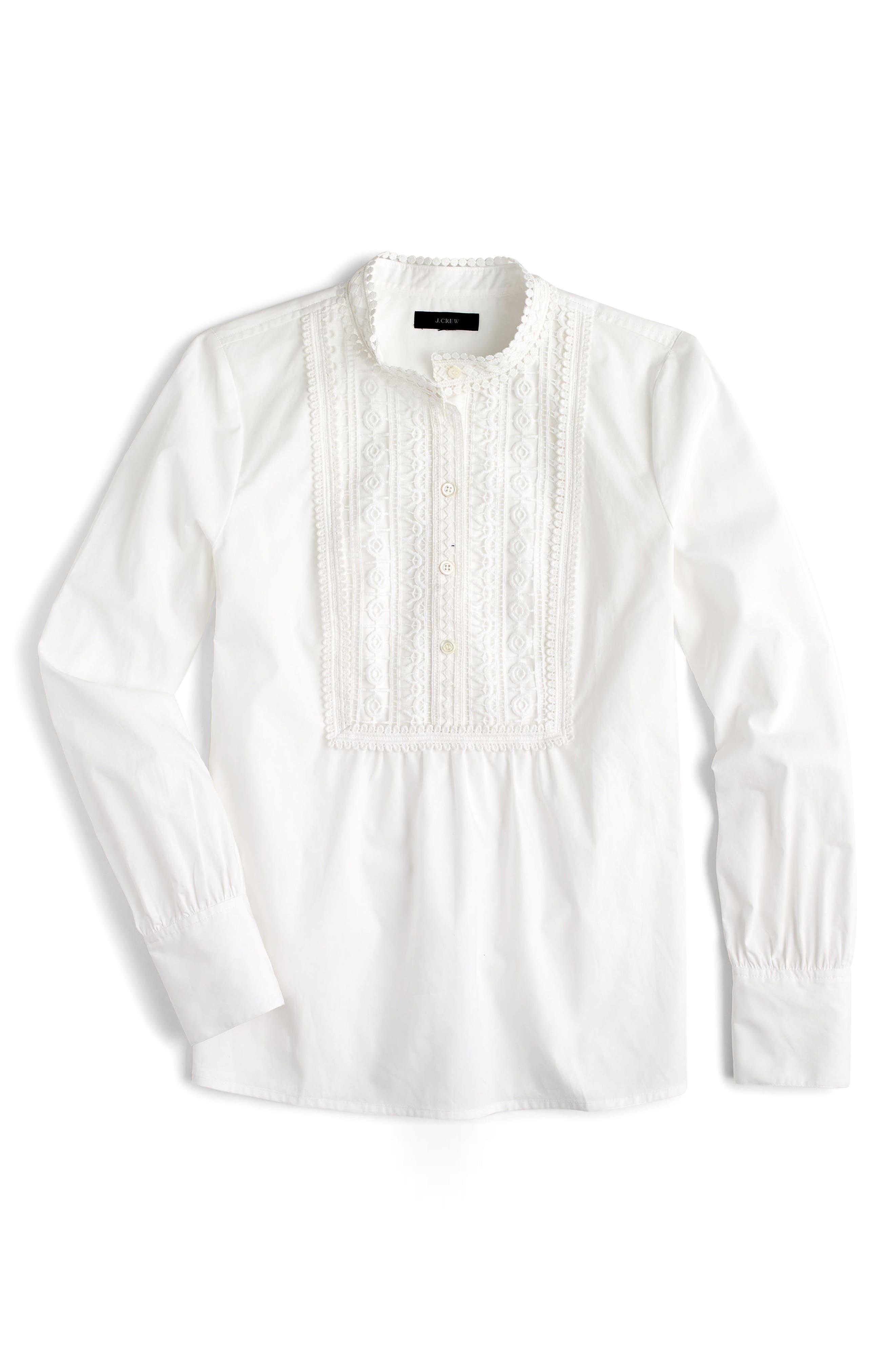 Lace Bib Popover Shirt,                             Alternate thumbnail 4, color,                             100