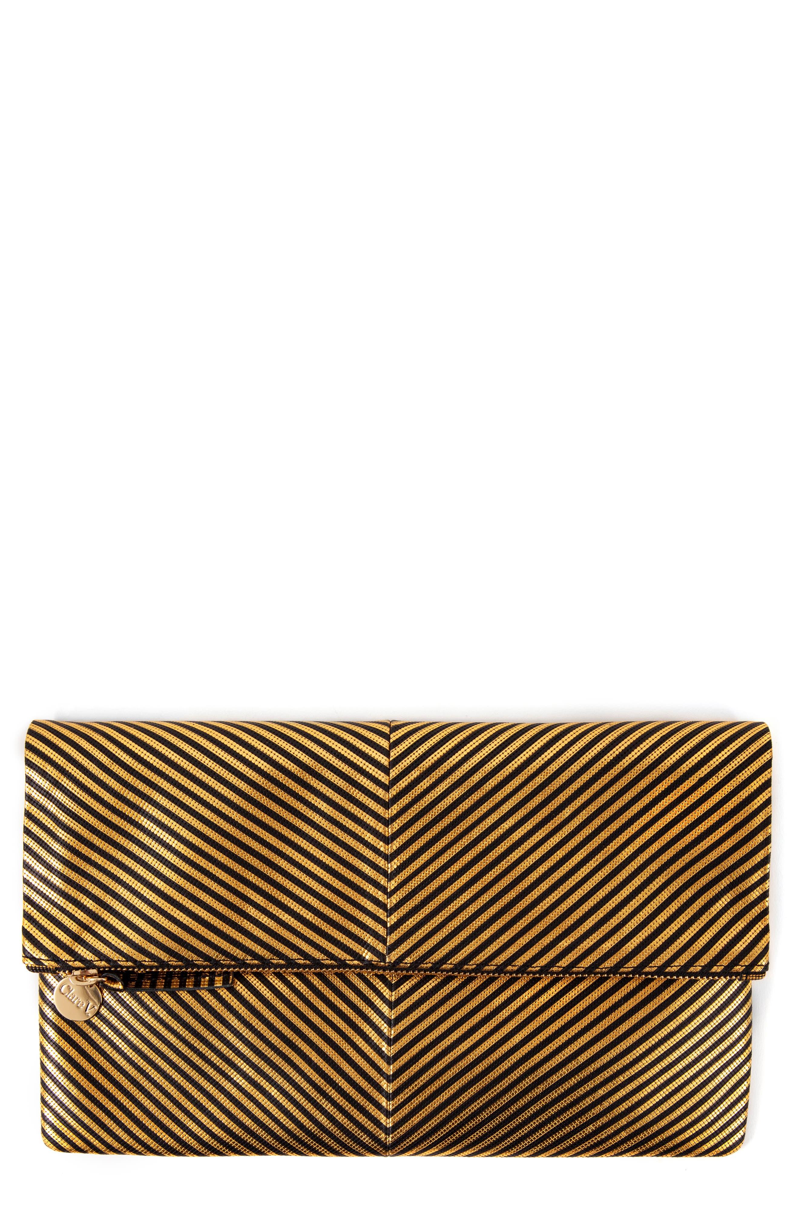 Disco Stripe Foldover Clutch,                             Main thumbnail 1, color,                             DISCO STRIPE PATCHWORK BLACK