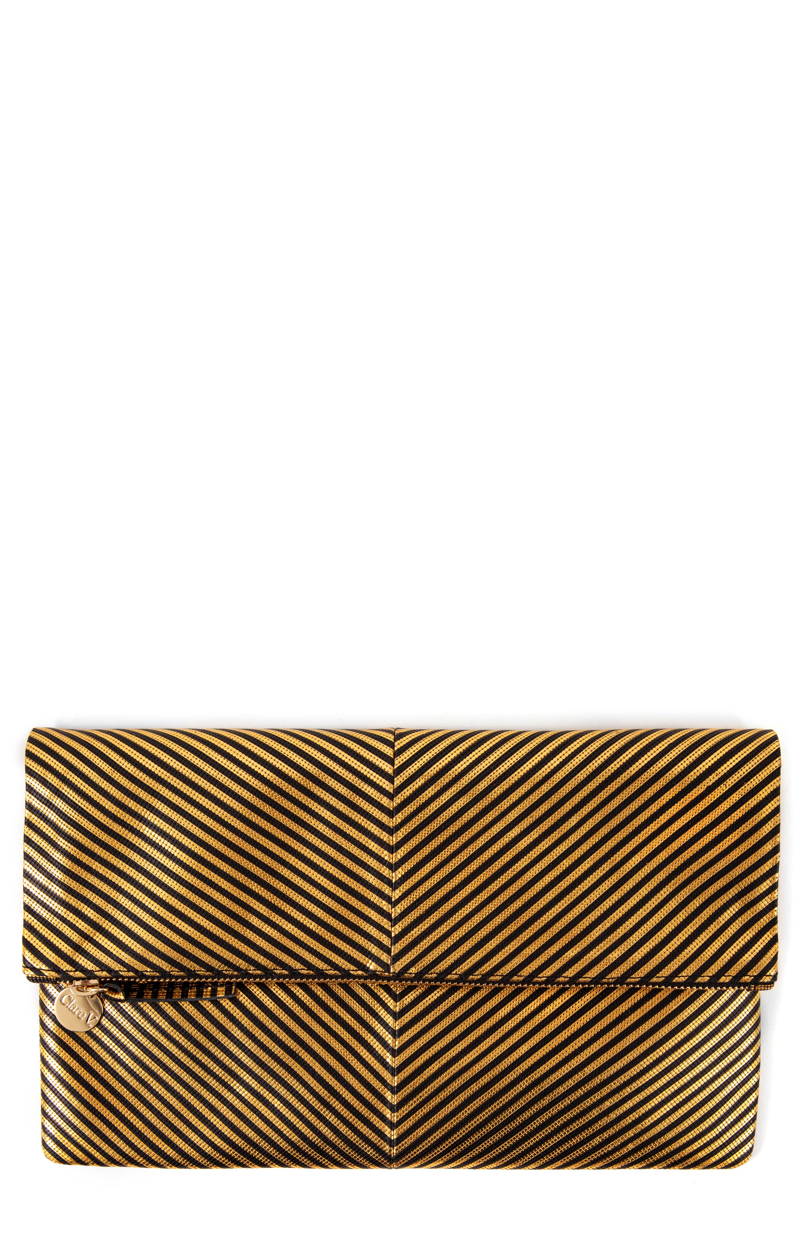 CLARE V Disco Stripe Foldover Clutch - Black in Disco Stripe Patchwork Black