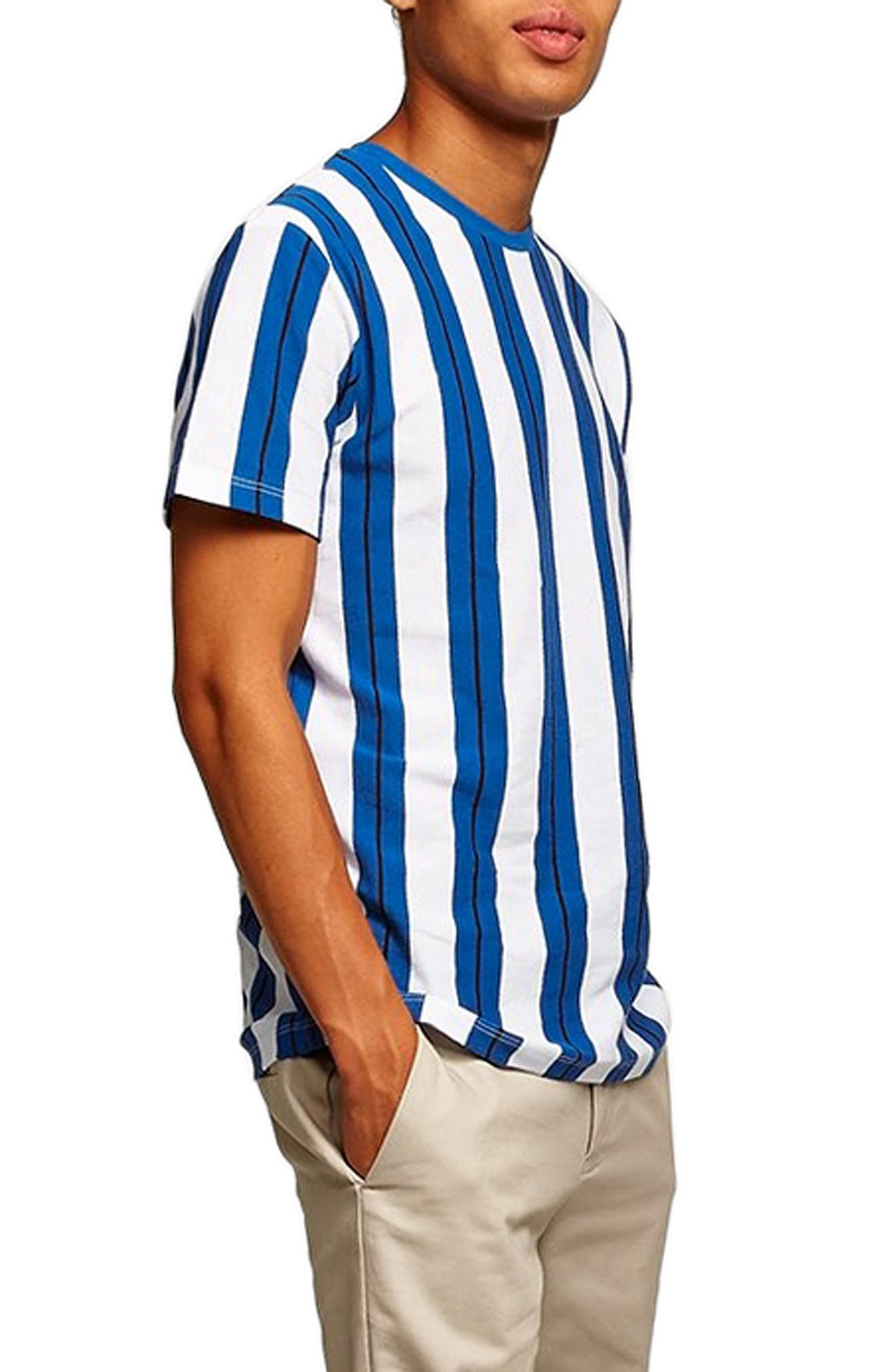 Stripe Piqué T-Shirt,                             Alternate thumbnail 3, color,                             BLUE