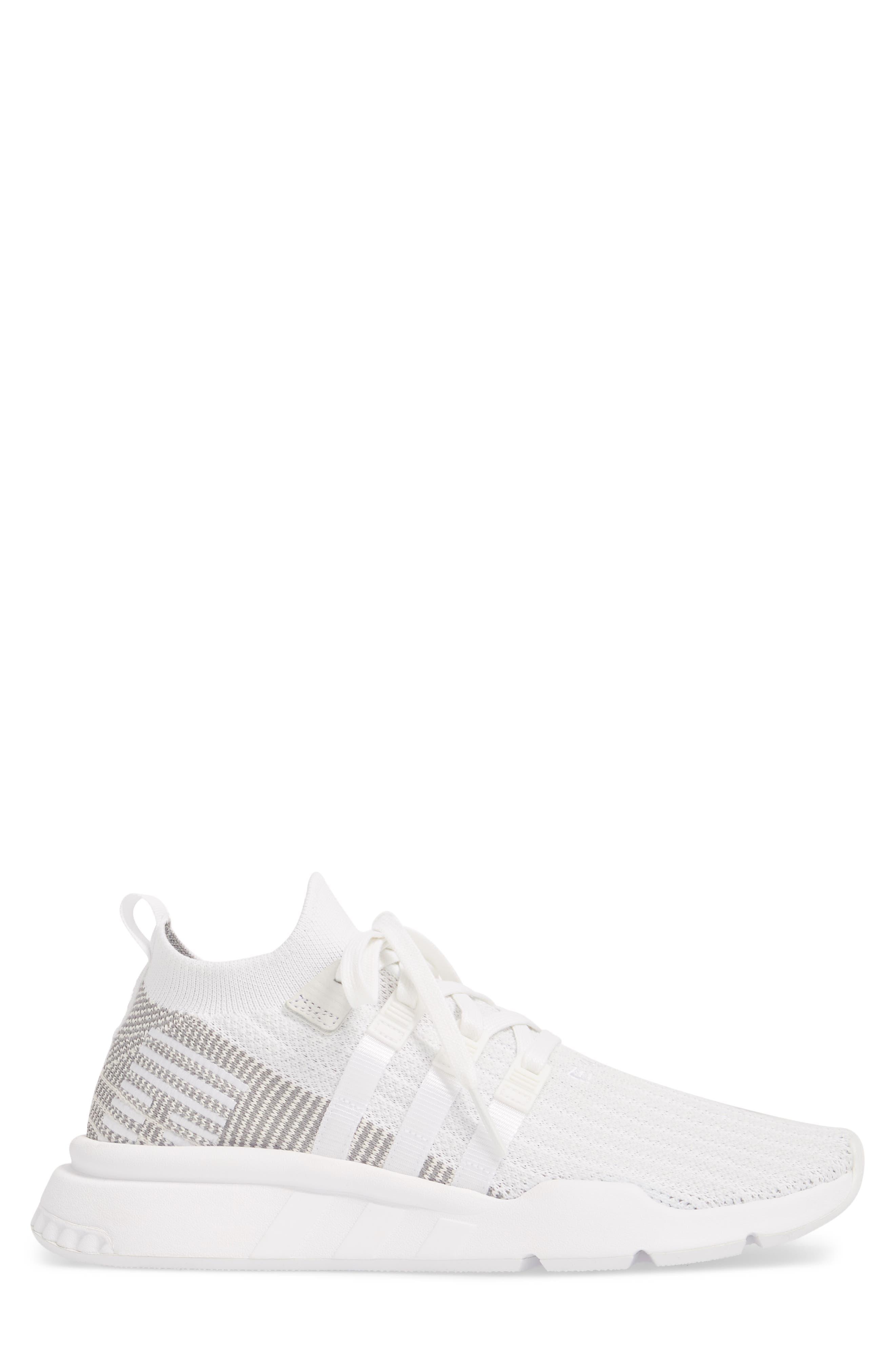 EQT Support Mid ADV Primeknit Sneaker,                             Alternate thumbnail 3, color,                             WHITE/ WHITE/ GREY