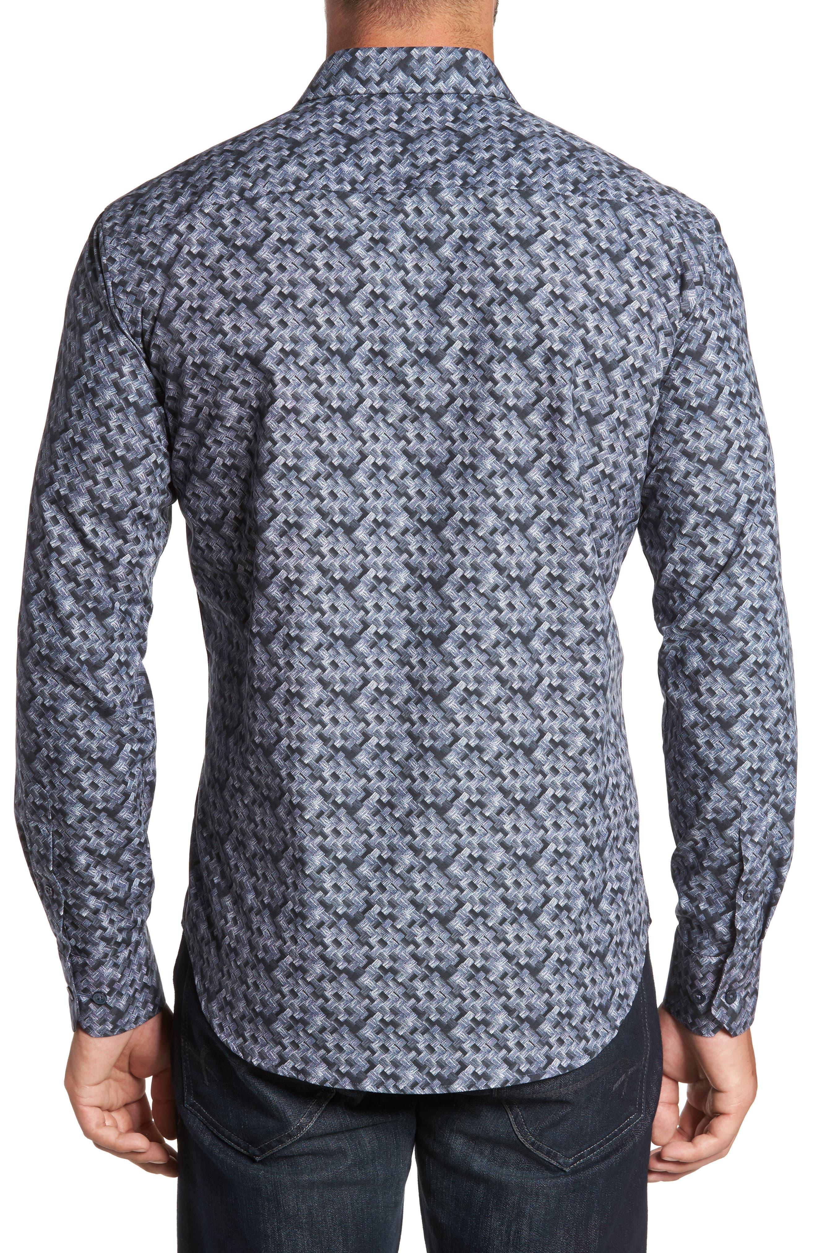 BUGATCHI,                             Shaped Fit Print Sport Shirt,                             Alternate thumbnail 2, color,                             030
