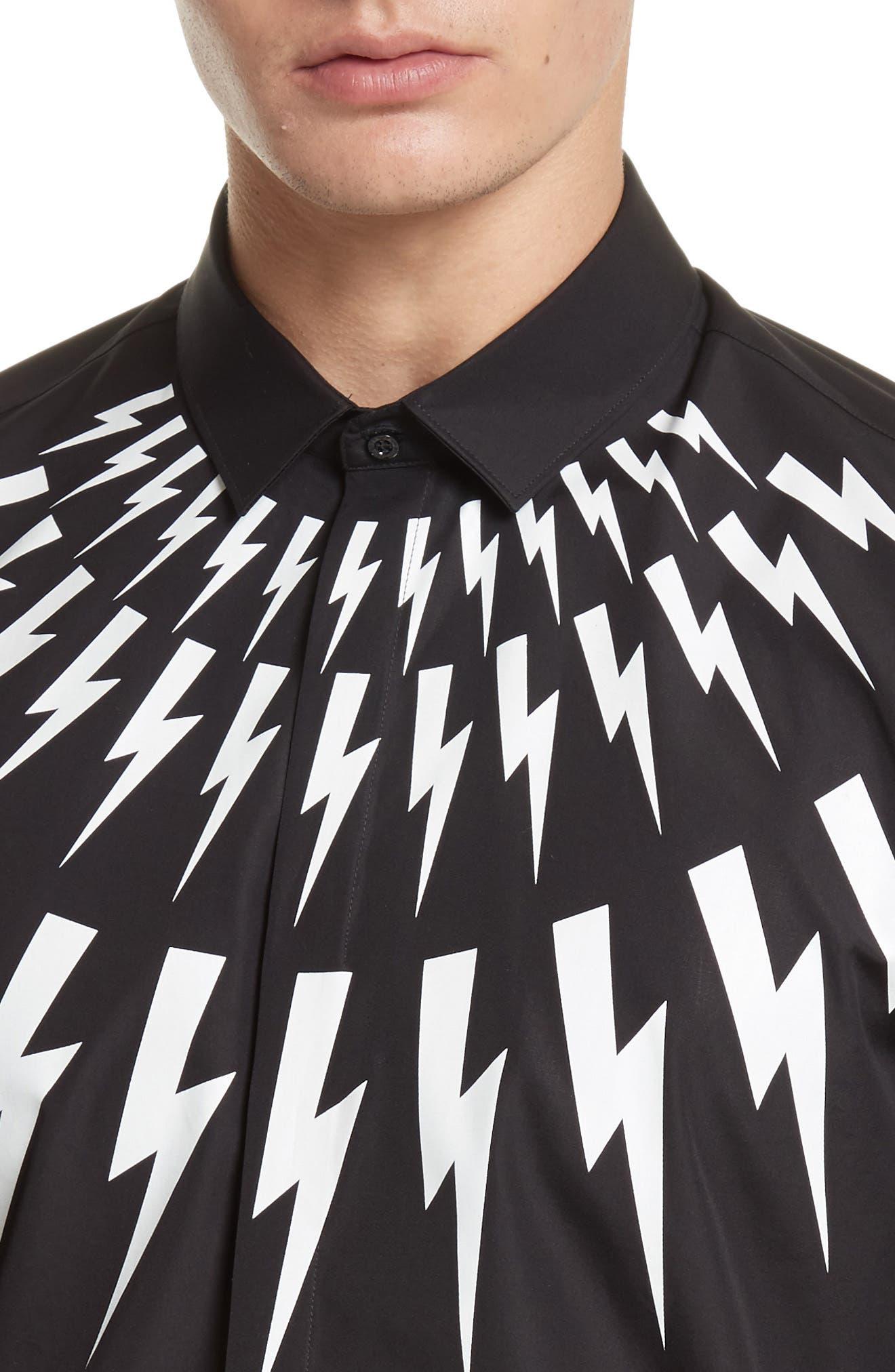 Trim Fit Thunderbolt Graphic Sport Shirt,                             Alternate thumbnail 5, color,                             001