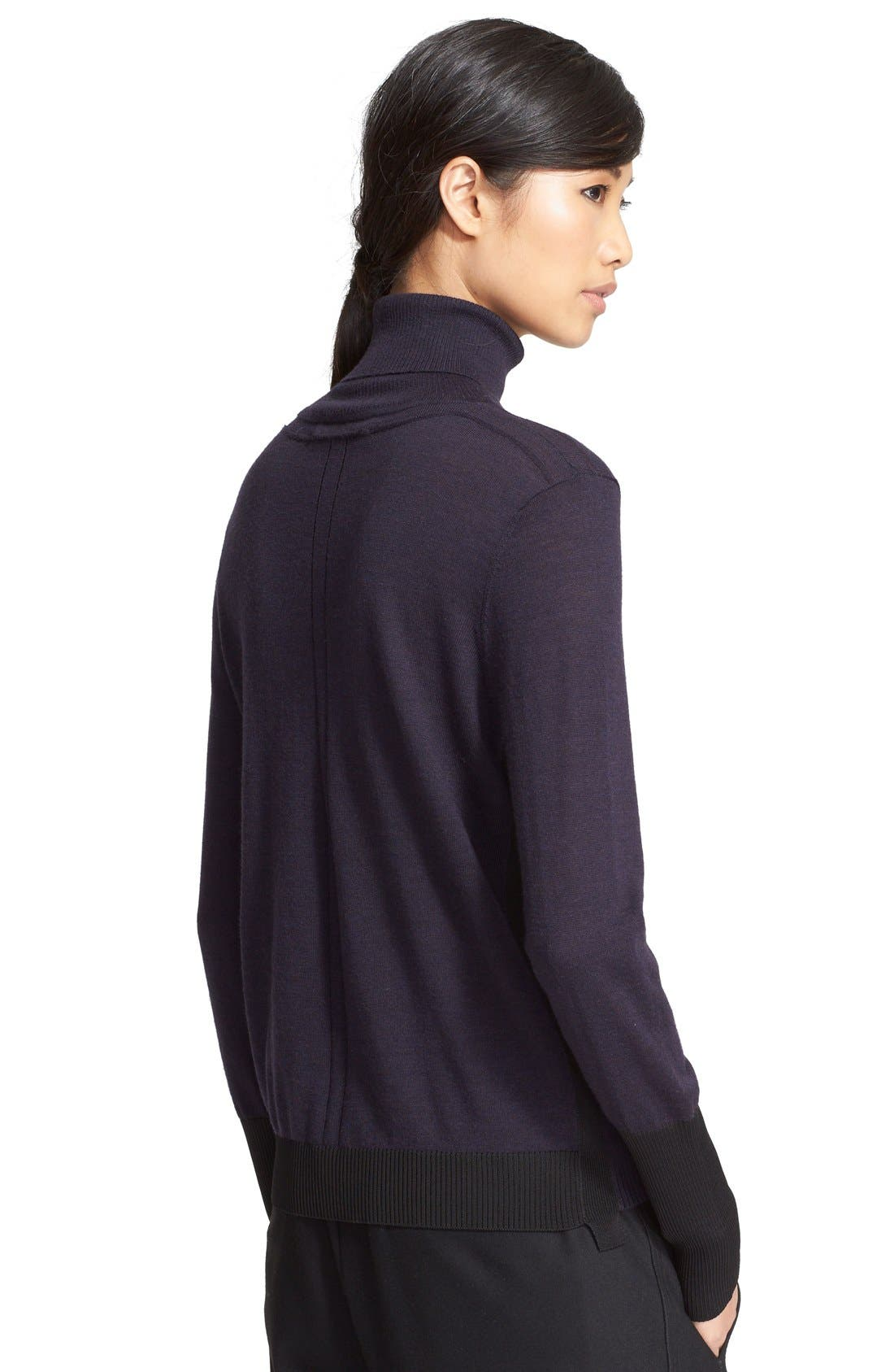 'Jessica' Wool Blend Turtleneck Sweater,                             Alternate thumbnail 4, color,                             001