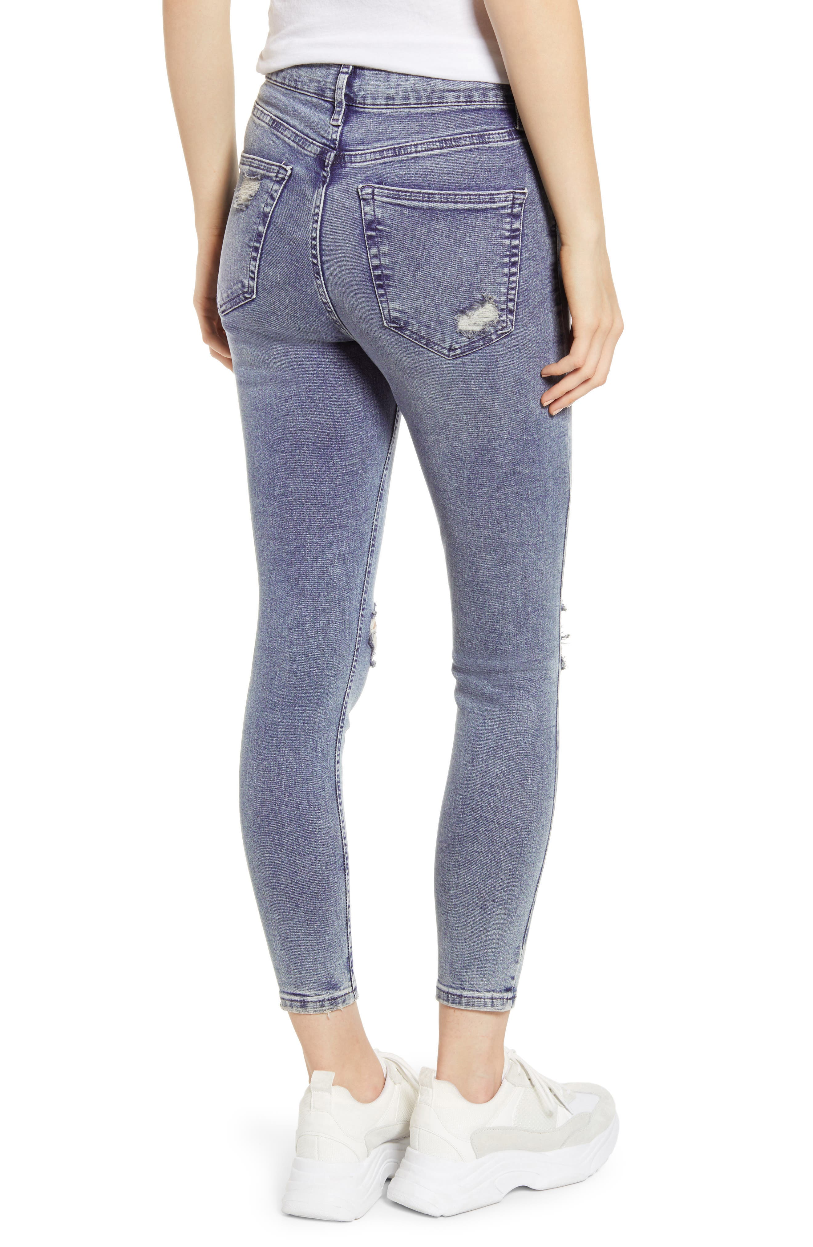 TOPSHOP,                             Jamie Ripped Skinny Jeans,                             Alternate thumbnail 2, color,                             GREY