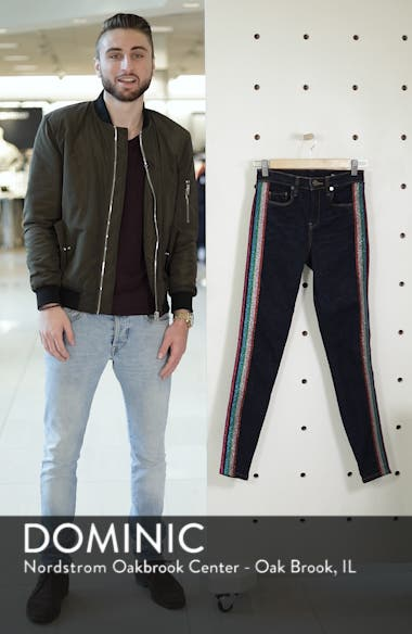 The Bond Metallic Side Stripe Skinny Jeans, sales video thumbnail