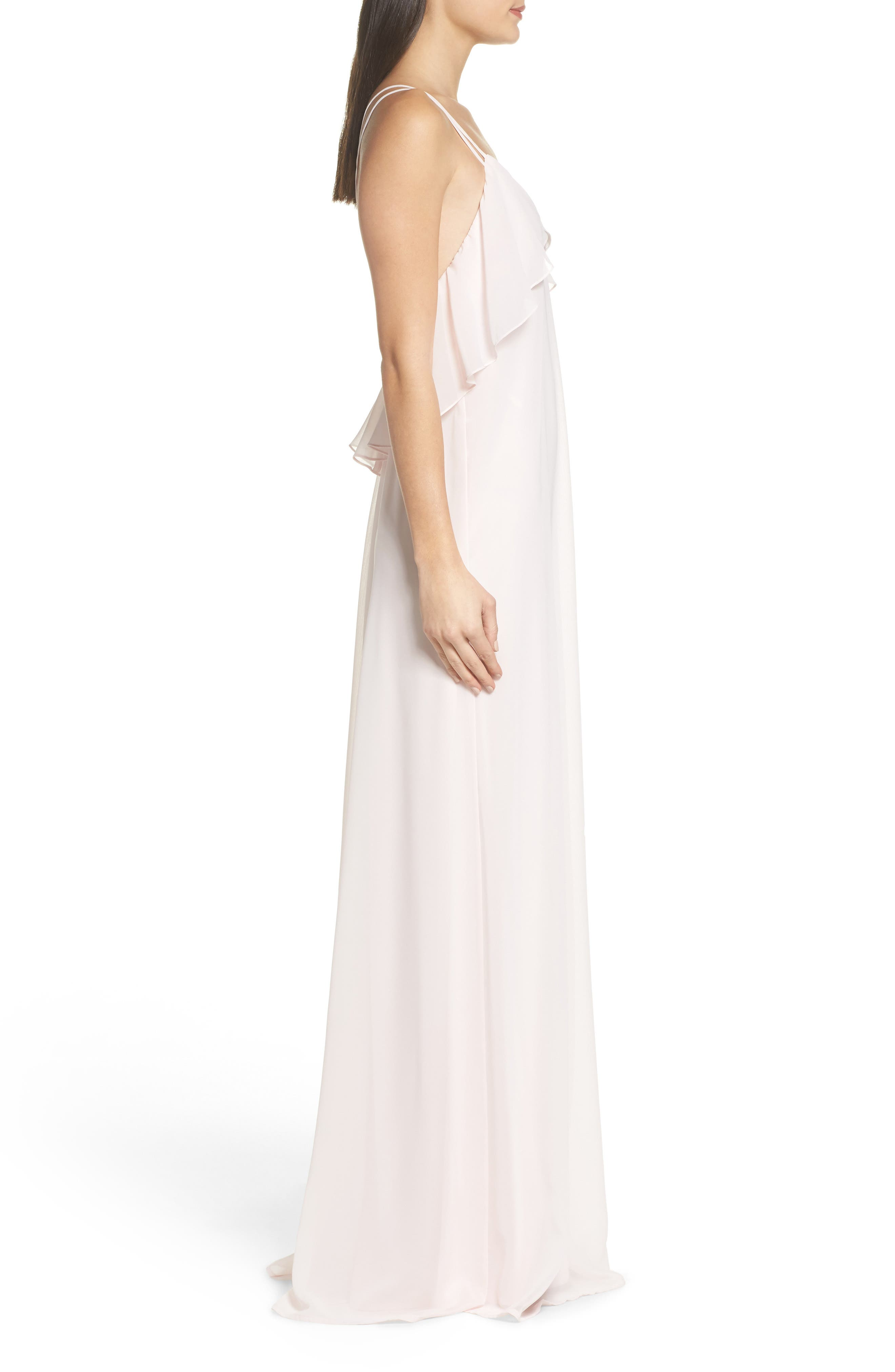 Avery Strappy Ruffle V-Neck Gown,                             Alternate thumbnail 7, color,