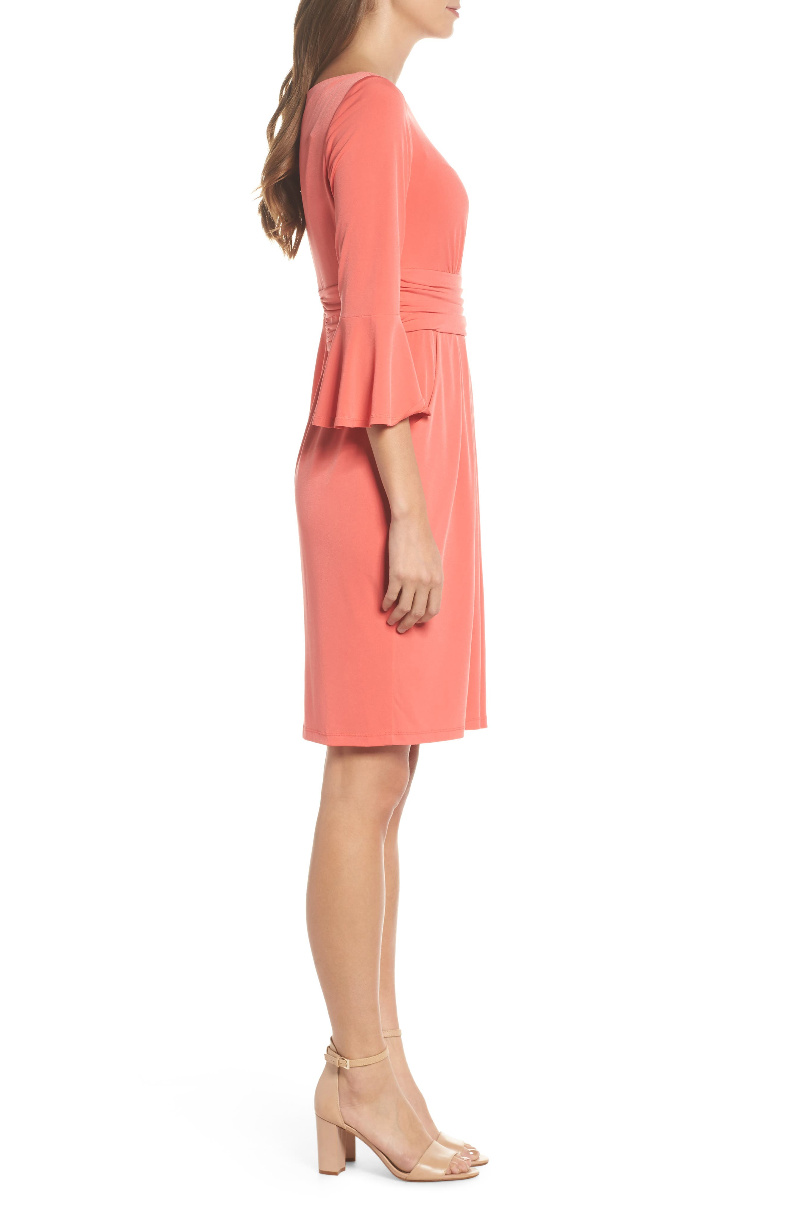 Flounce Sleeve Sheath Dress,                             Alternate thumbnail 6, color,