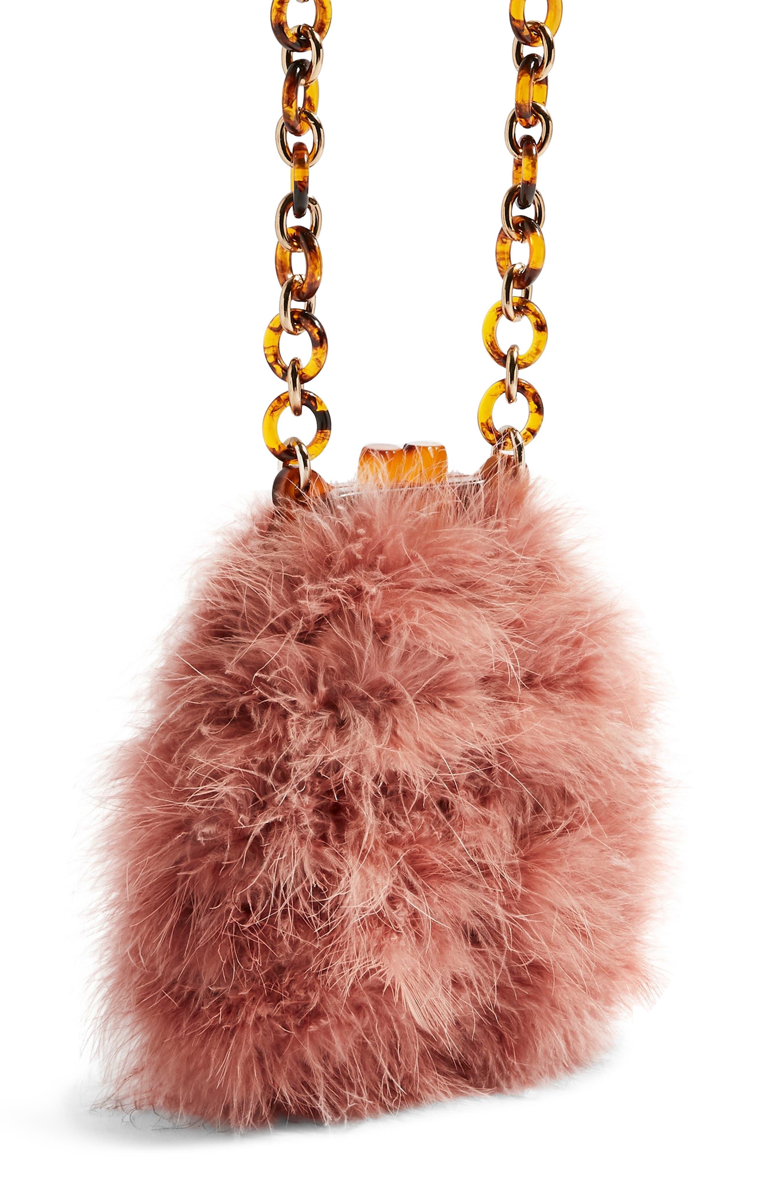 Marabou Feather Frame Handbag,                             Alternate thumbnail 4, color,                             PINK MULTI