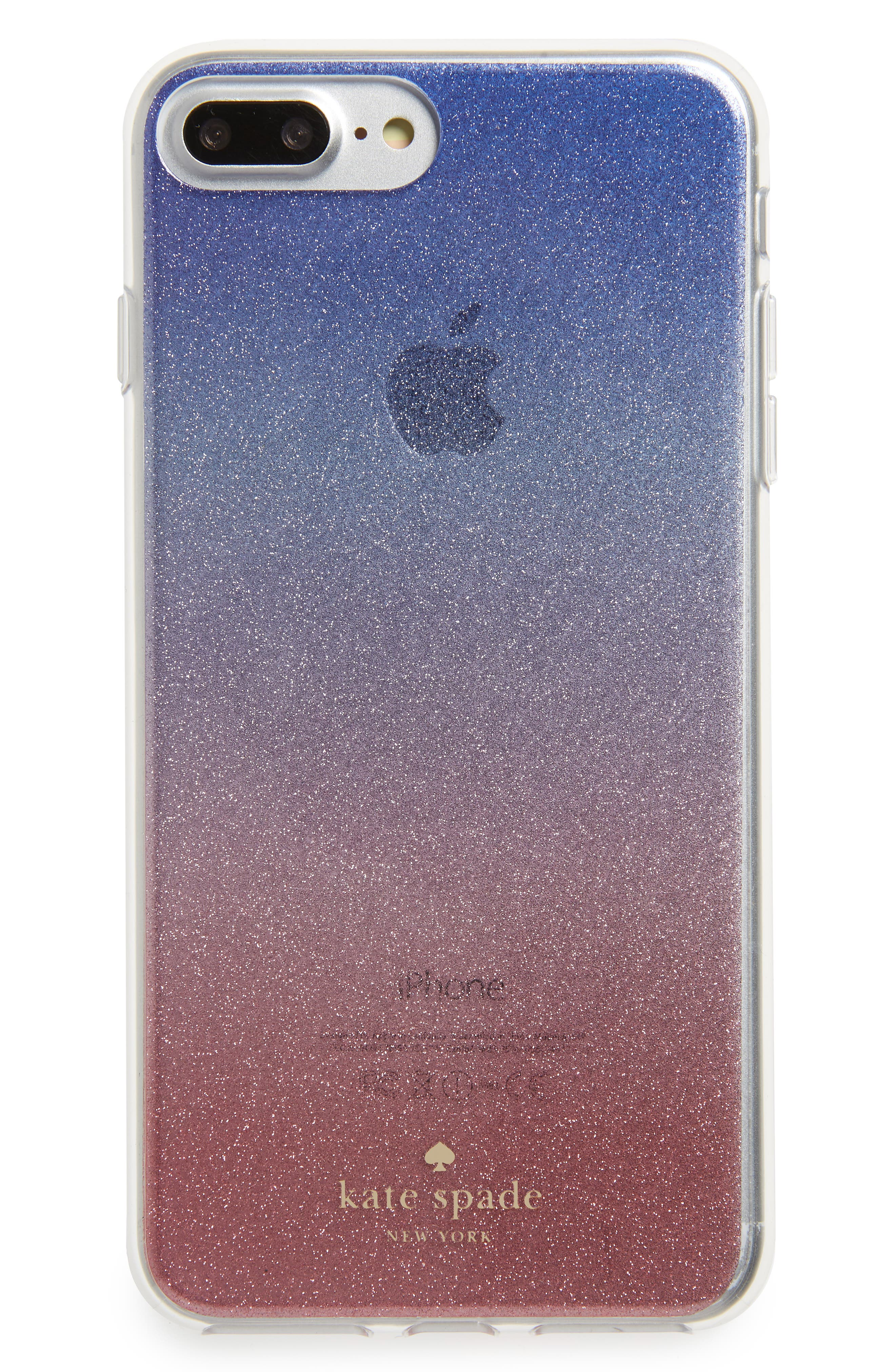 KATE SPADE NEW YORK ombré sunset glitter iPhone 7/8 & 7/8 Plus case, Main, color, 655