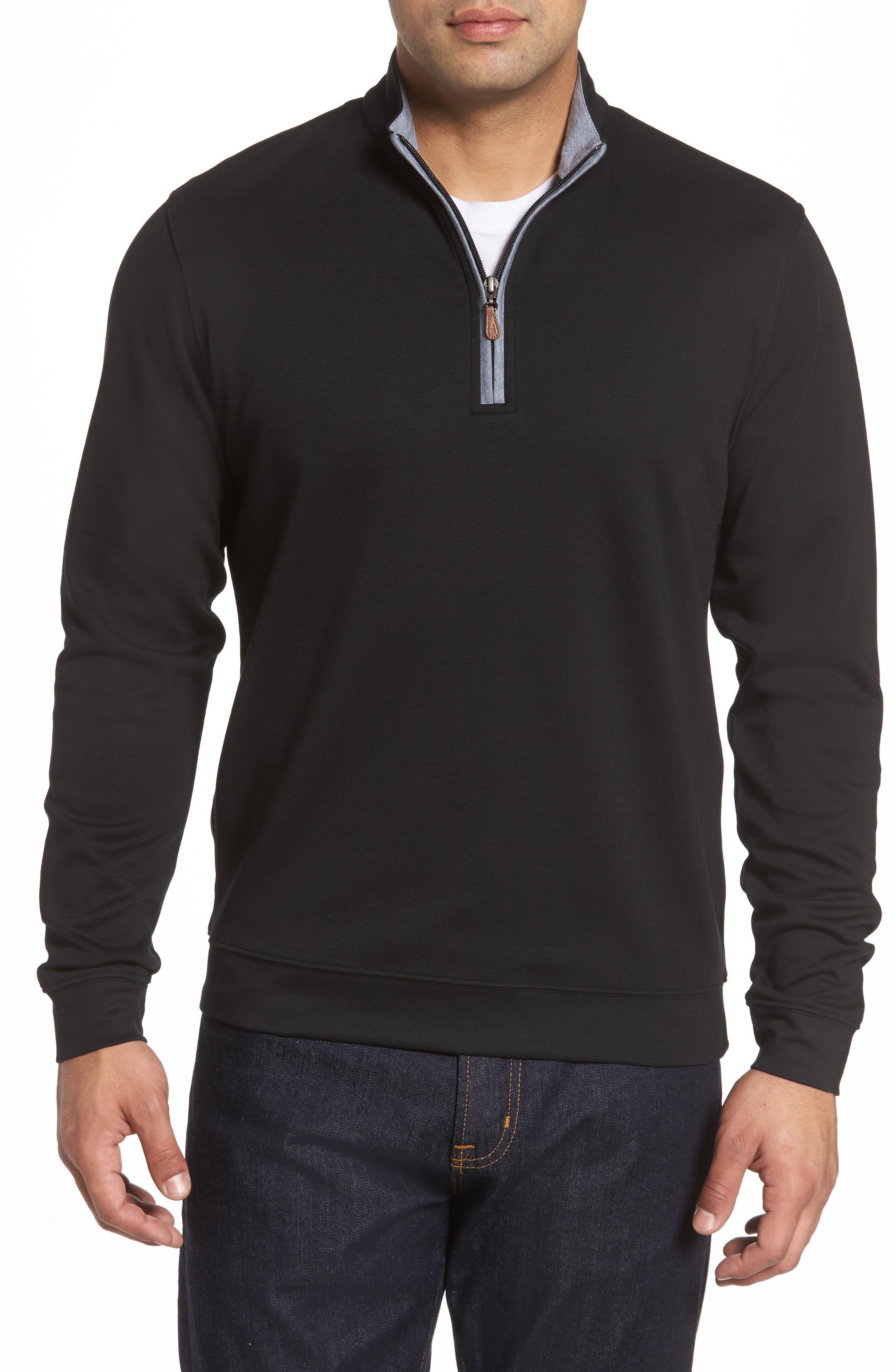 Sully Quarter Zip Pullover,                             Main thumbnail 1, color,                             BLACK