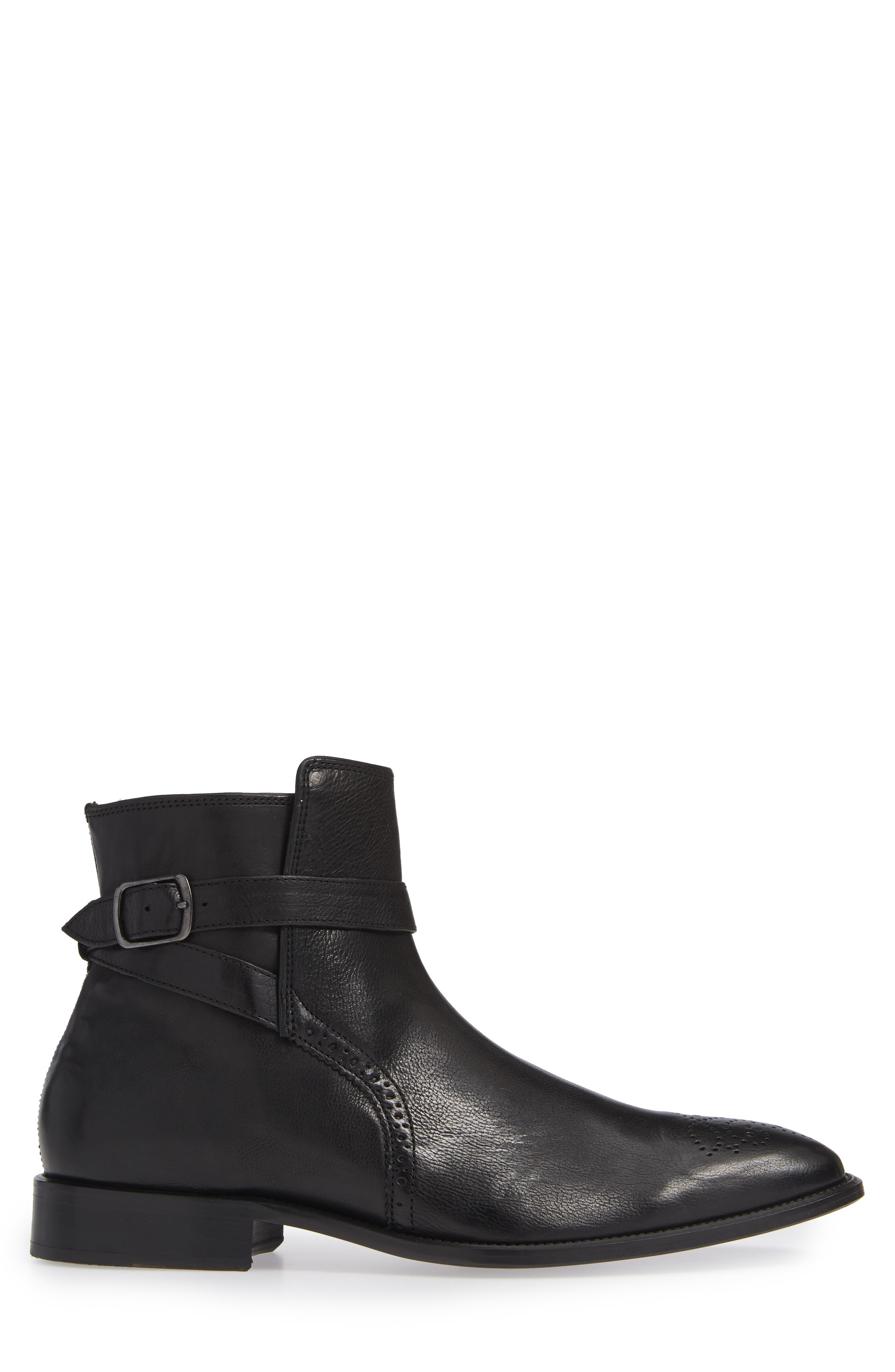 Maxwell Zip Boot,                             Alternate thumbnail 3, color,                             BLACK LEATHER