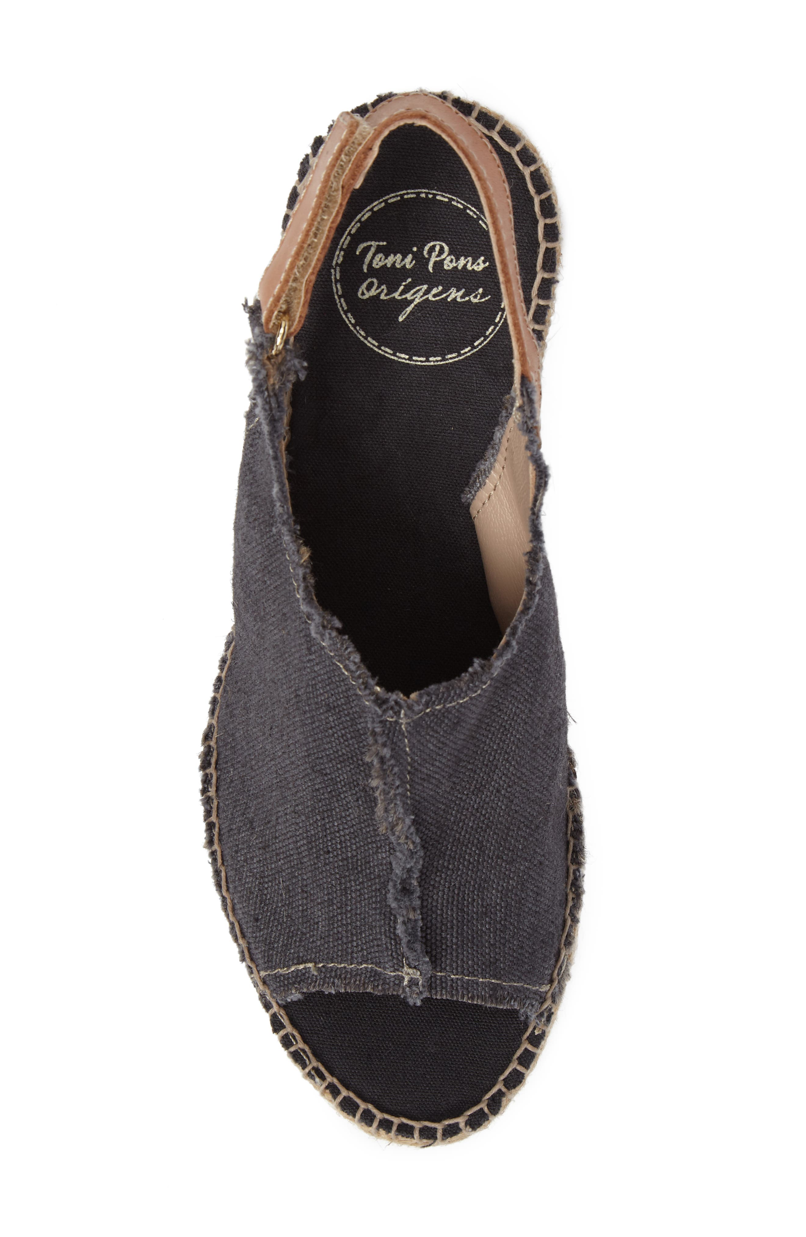 'Lugano' Espadrille Wedge Sandal,                             Alternate thumbnail 5, color,                             BLACK FABRIC