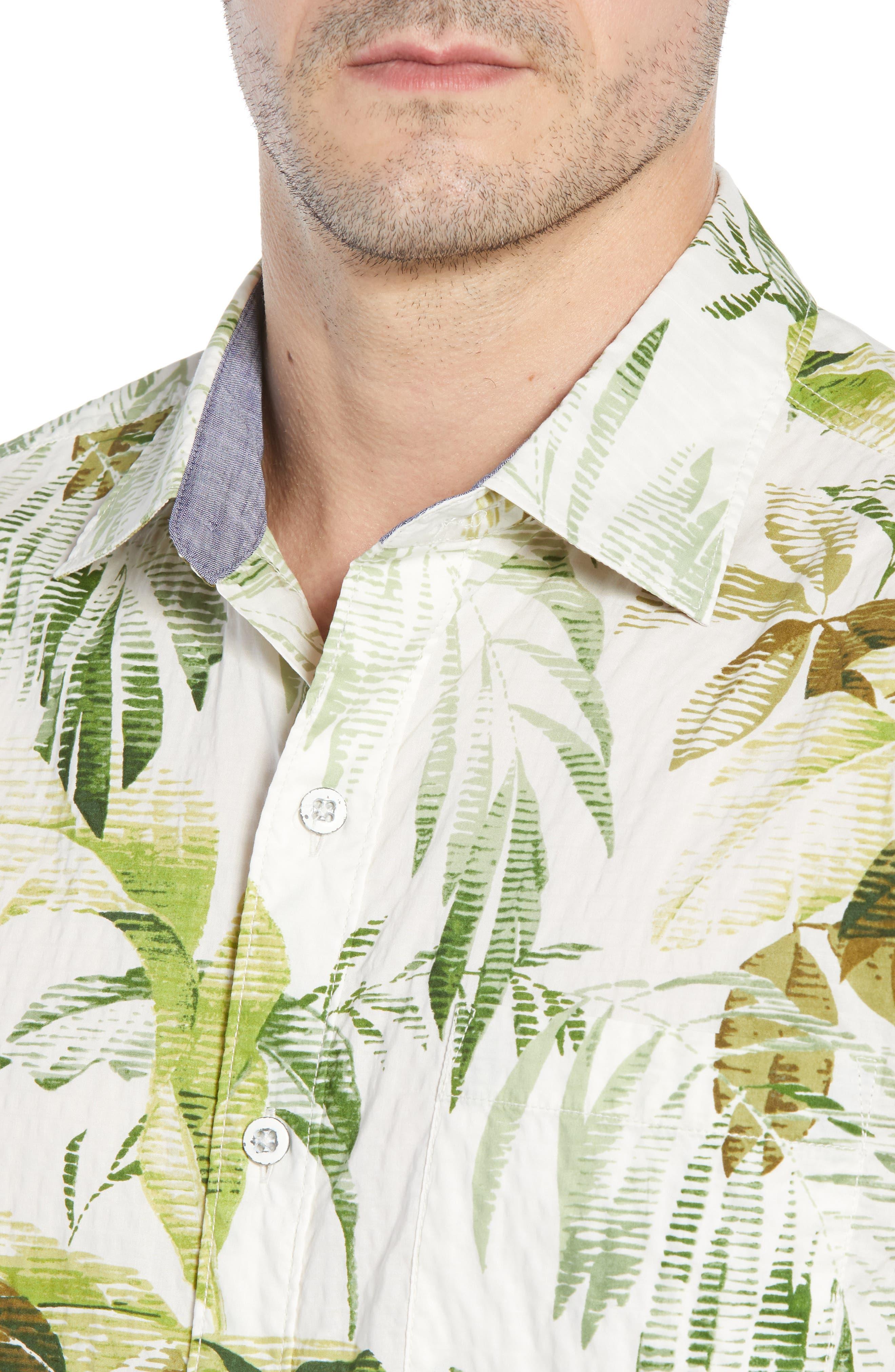 Don't Leaf Me Now Regular Fit Tropical Print Sport Shirt,                             Alternate thumbnail 2, color,                             COCONUT CREAM