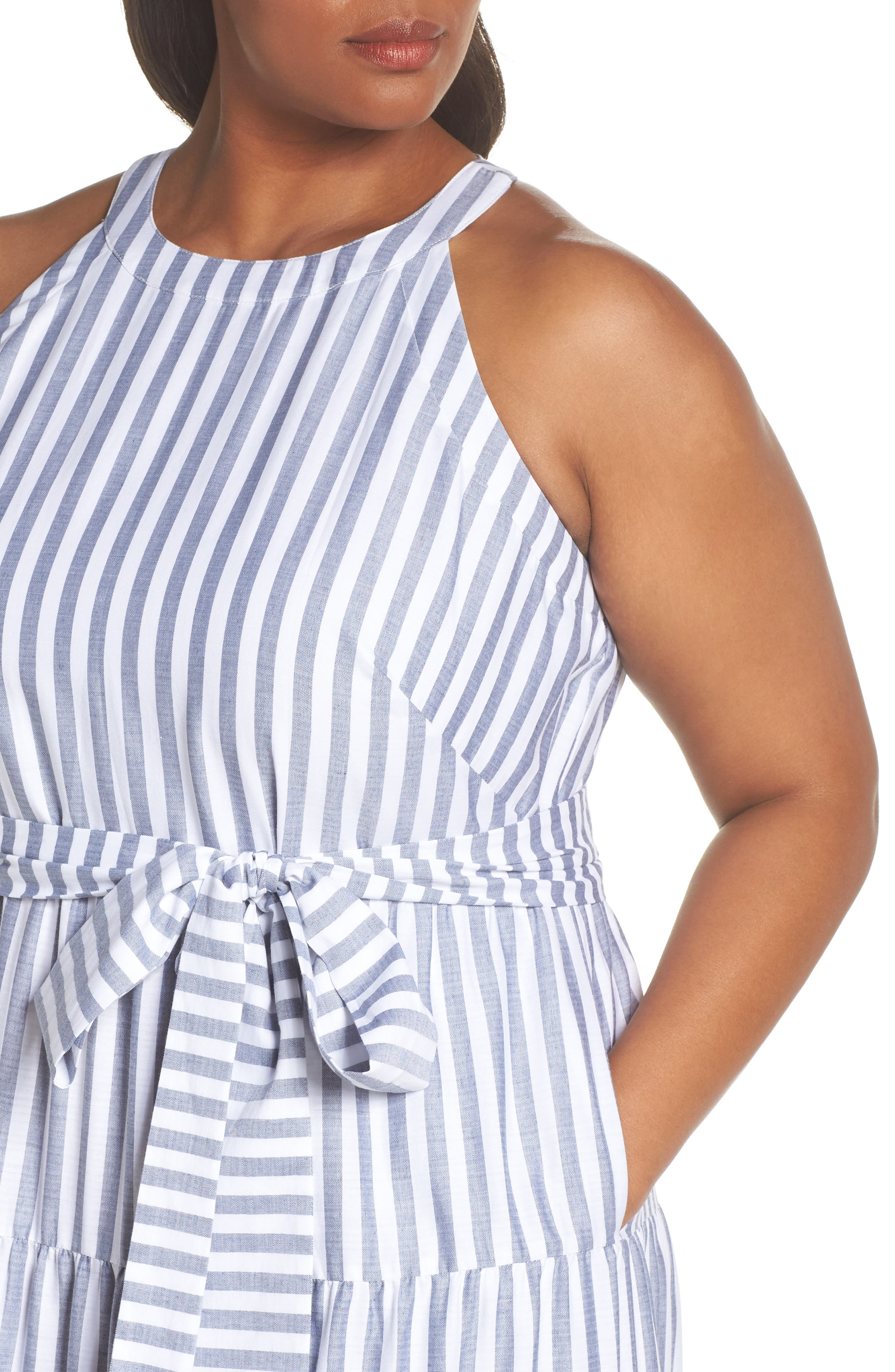 Tiered Stripe Halter Maxi Dress,                             Alternate thumbnail 4, color,                             IVORY