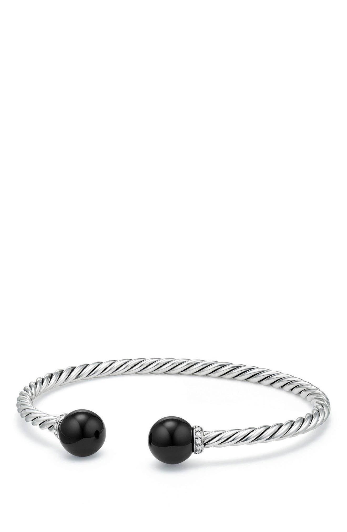 Solari Bead Bracelet with Diamonds,                         Main,                         color, SILVER/ DIAMOND/ BLACK ONYX