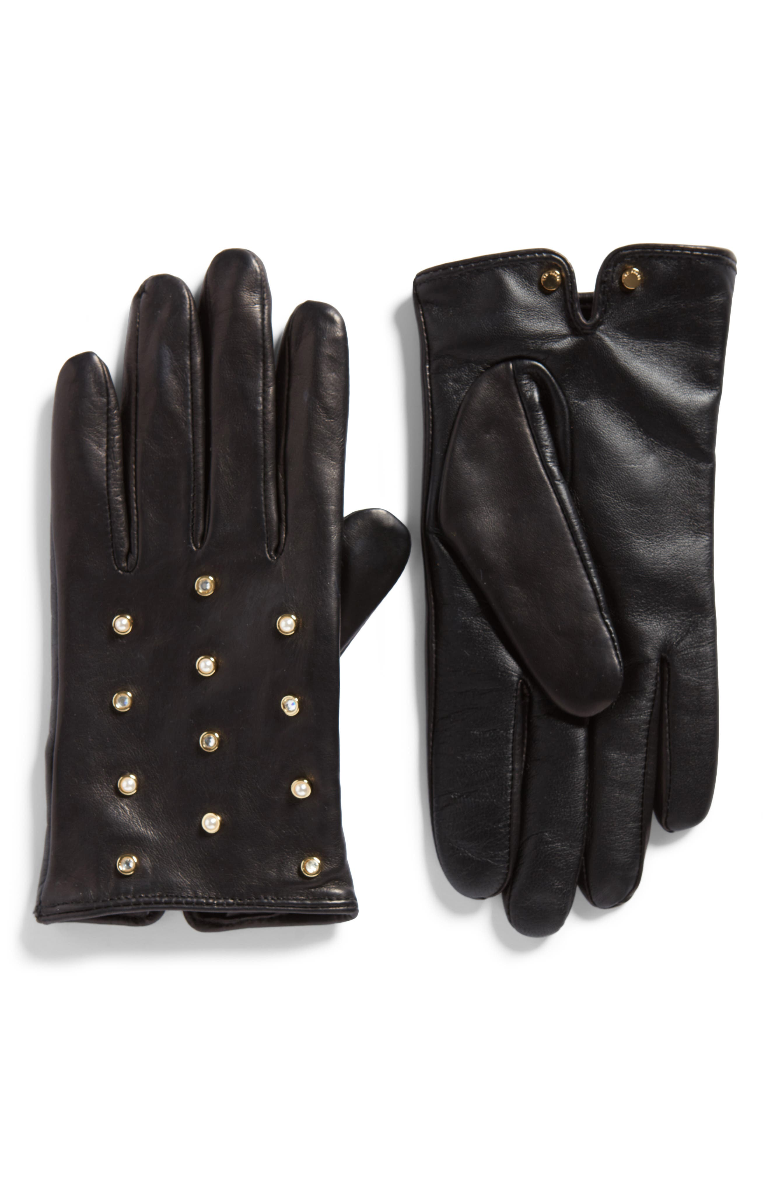 Imitation Pearl & Crystal Scattered Leather Gloves,                             Main thumbnail 1, color,                             001