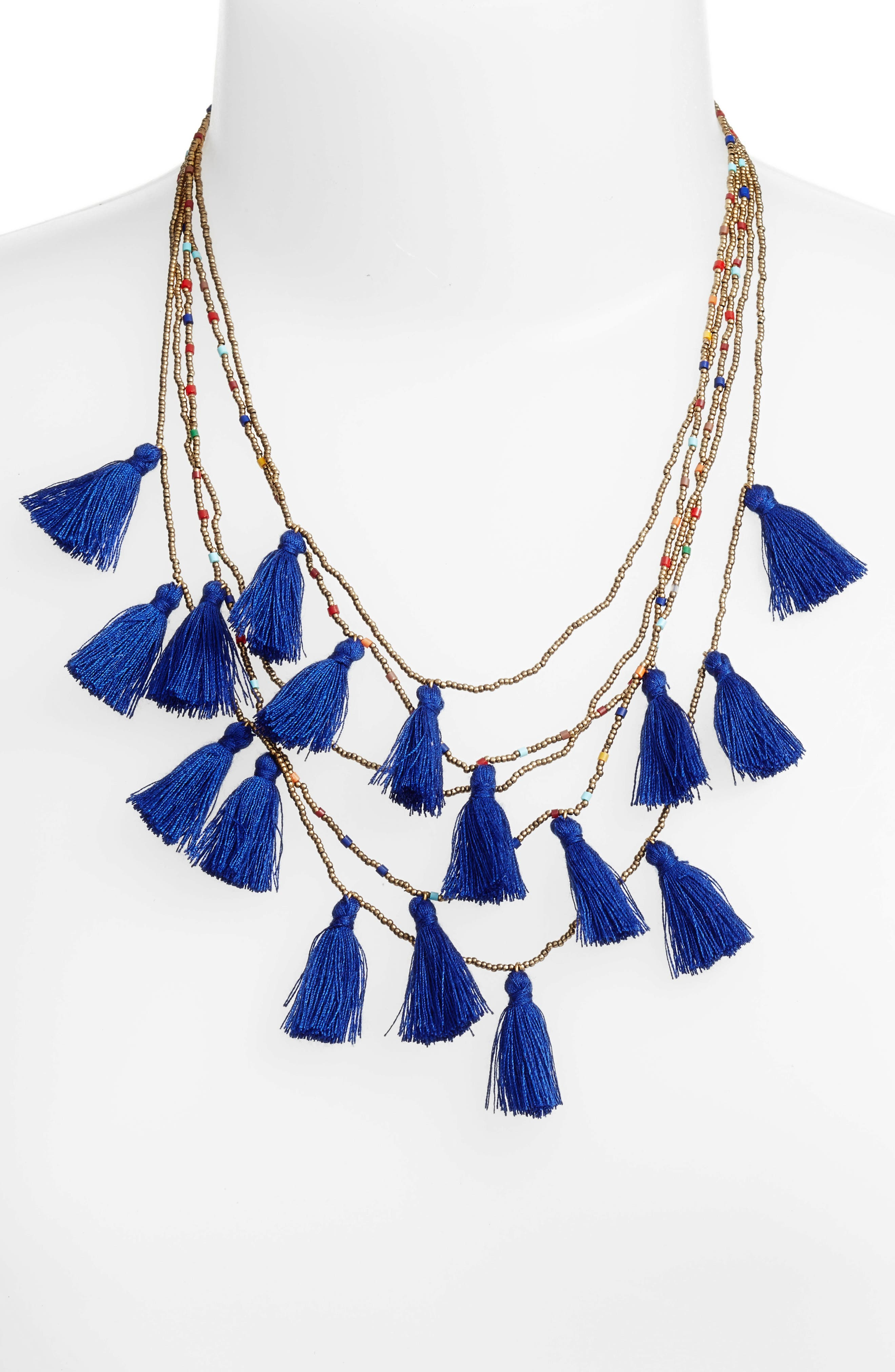 Layered Tassel Statement Necklace,                             Alternate thumbnail 2, color,                             400