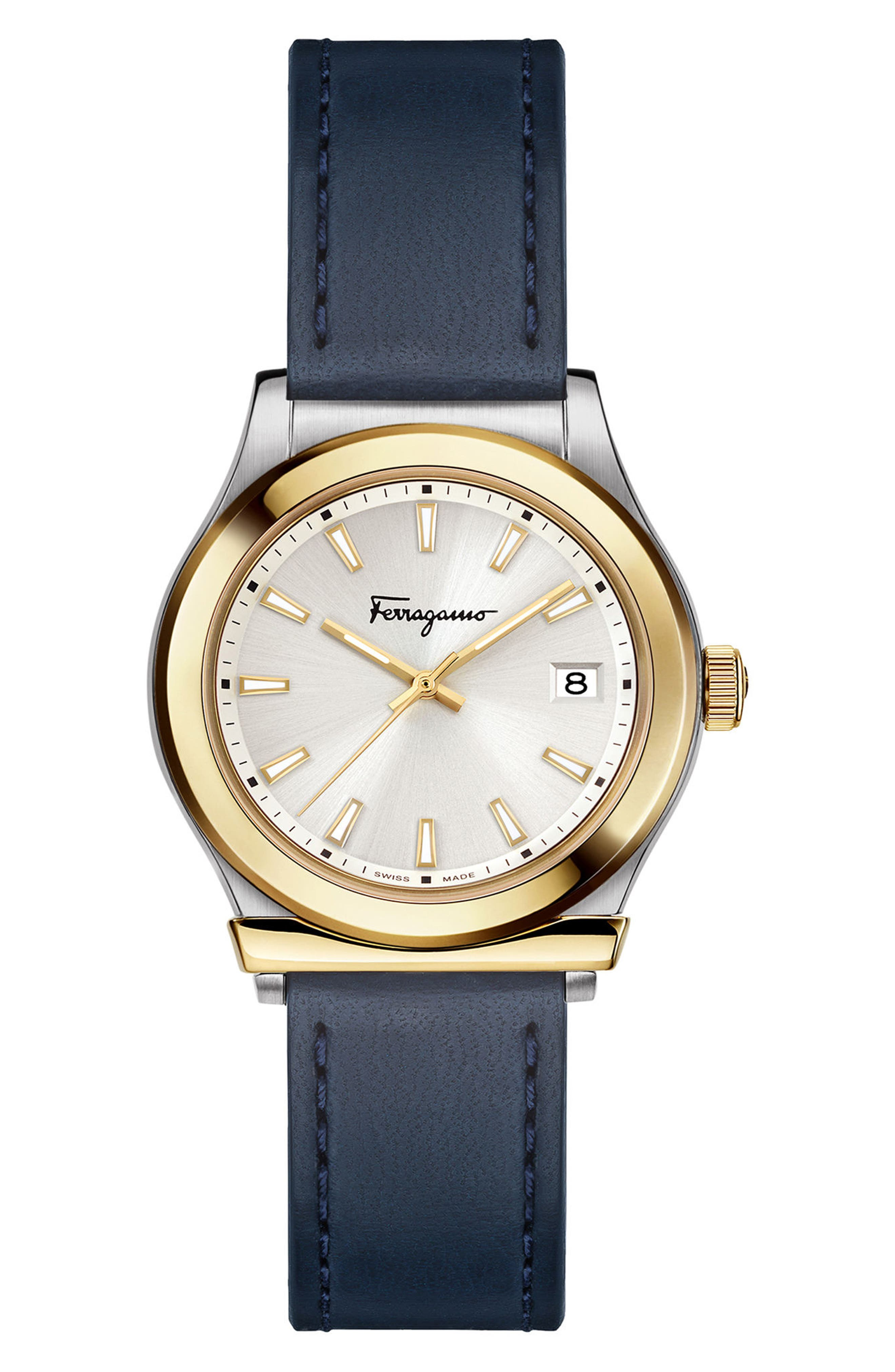 1898 Leather Strap Watch, 28mm,                         Main,                         color, BLUE/ SILVER/ GOLD