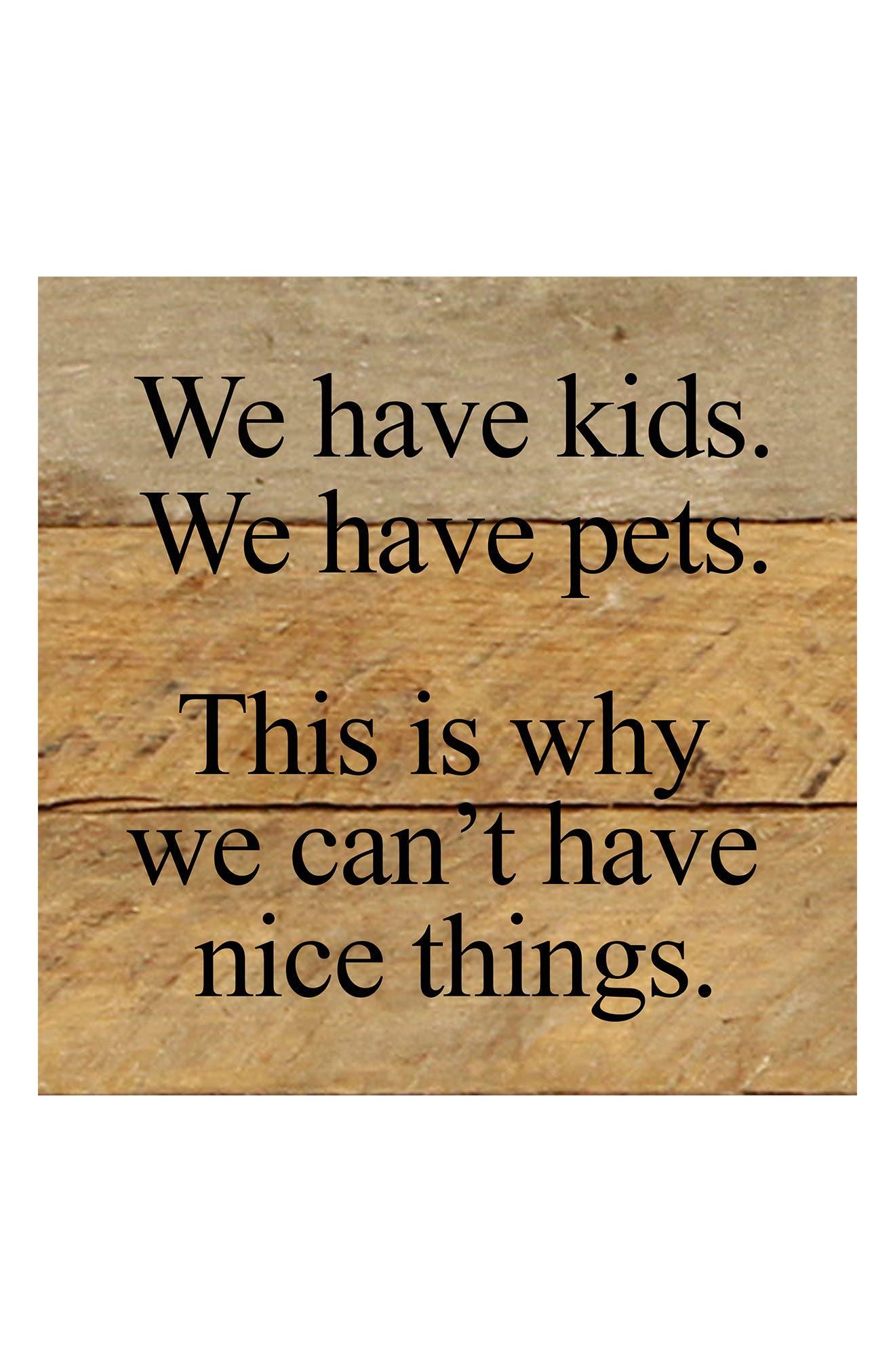 We Have Kids Repurposed Wood Wall Art,                             Main thumbnail 1, color,                             BROWN