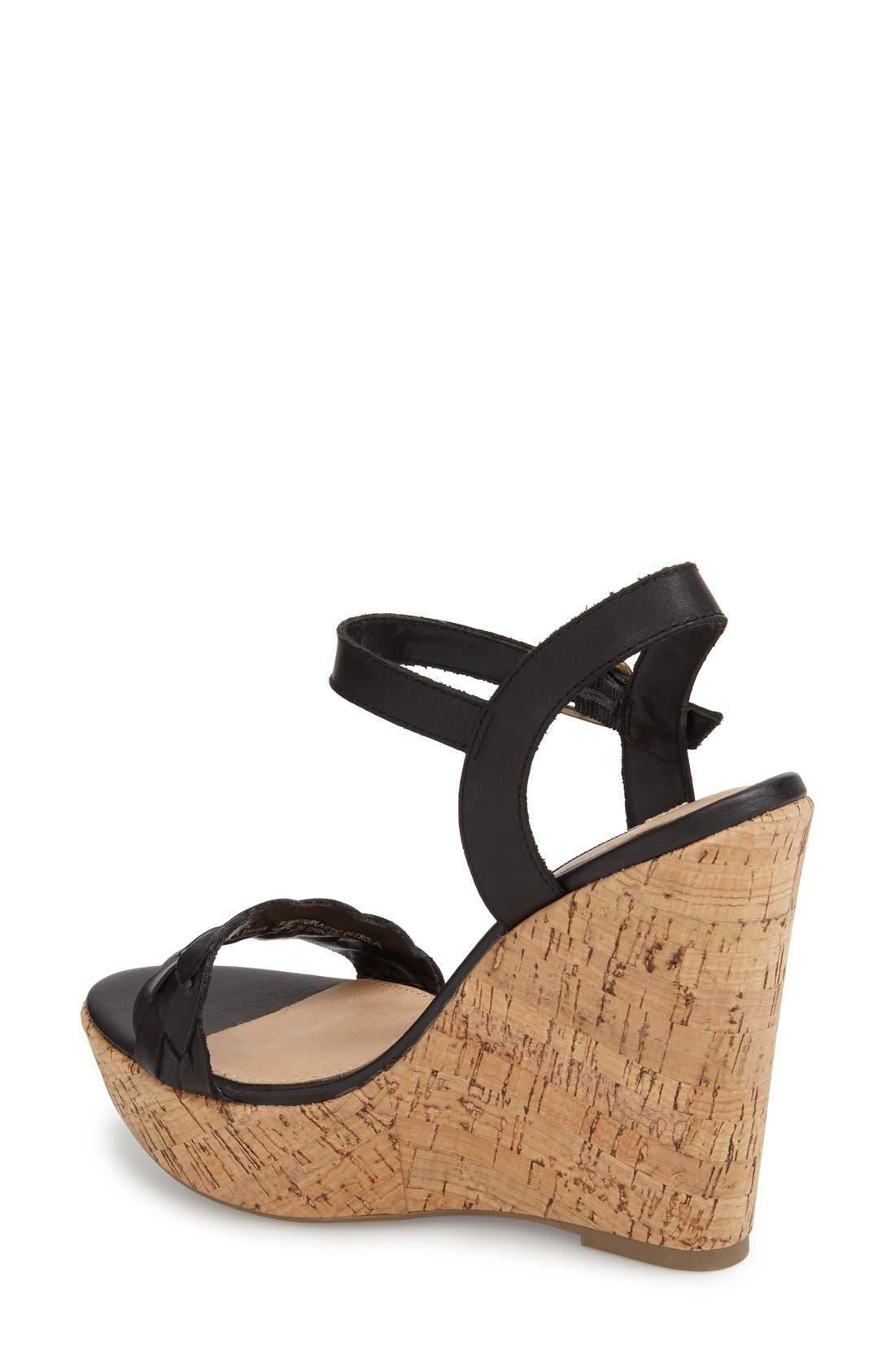 'Emmey' Platform Wedge Sandal,                             Alternate thumbnail 3, color,                             001