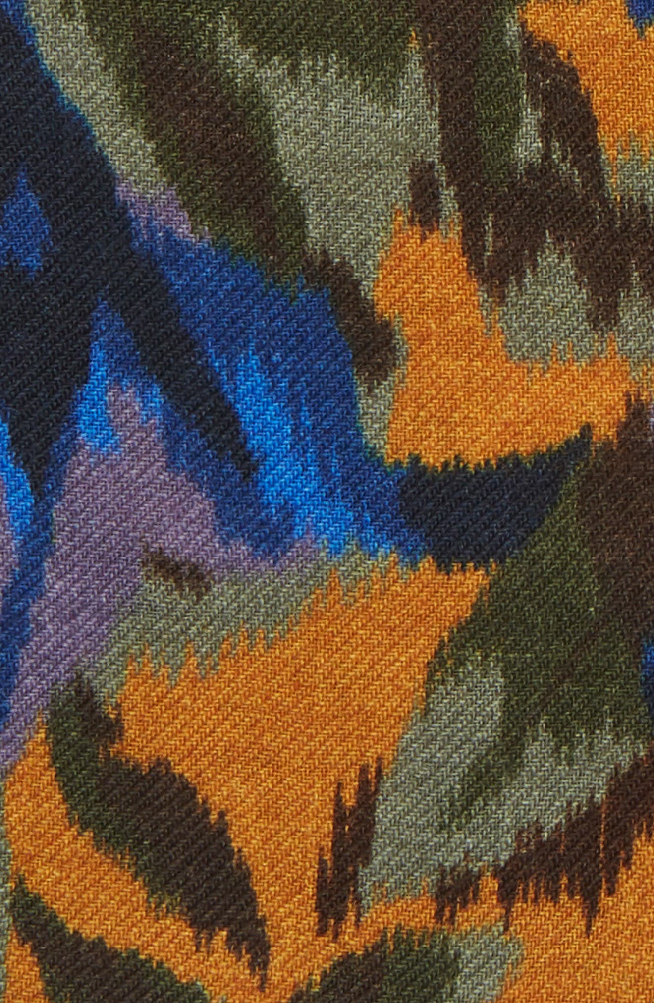 Floral Wool Pocket Square,                             Alternate thumbnail 3, color,                             FLORAL AMBER TOPAZ