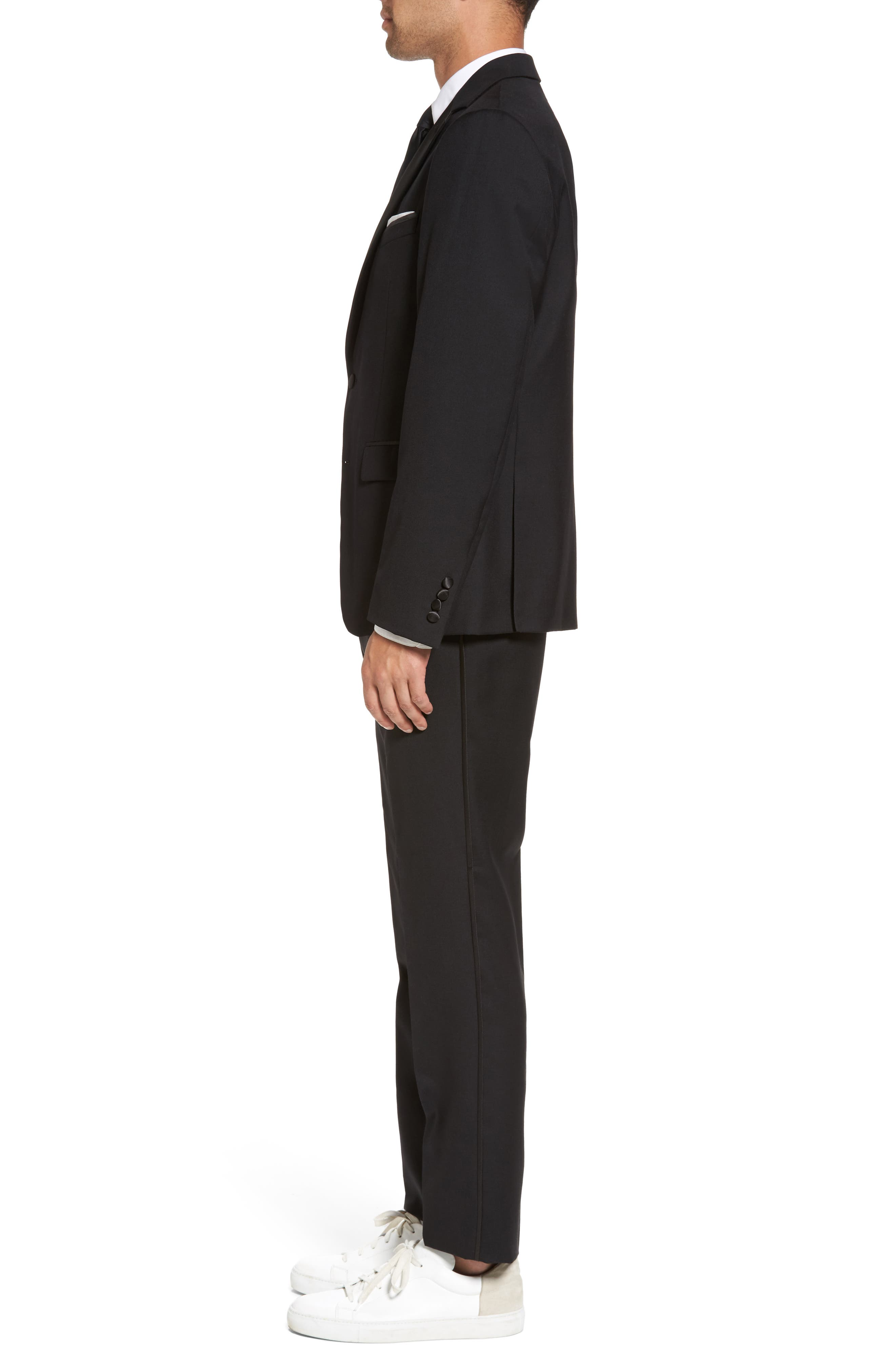 Trim Fit Wool Blend Tuxedo,                             Alternate thumbnail 3, color,                             BLACK