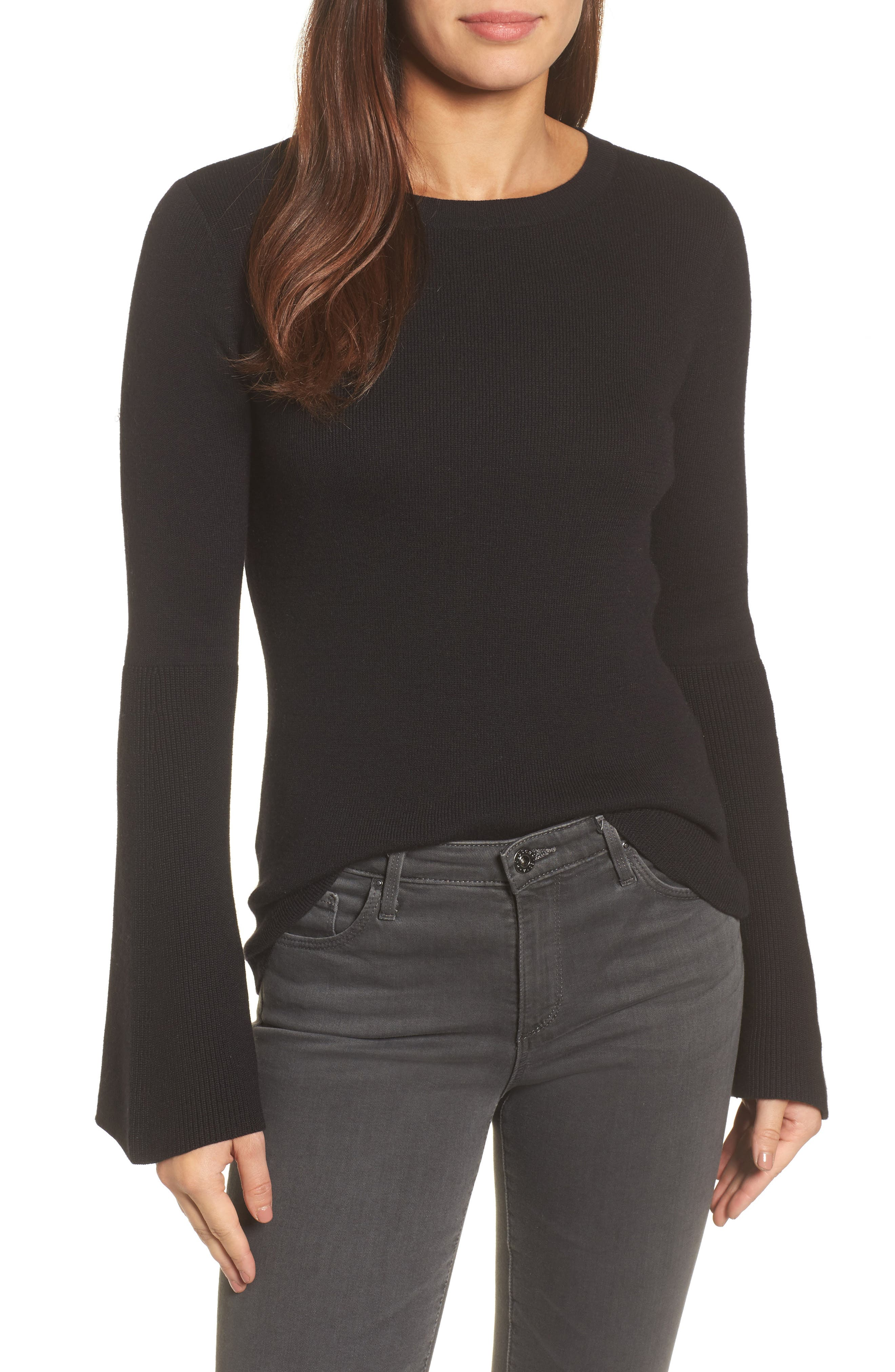 Bell Sleeve Rib Sweater,                         Main,                         color,