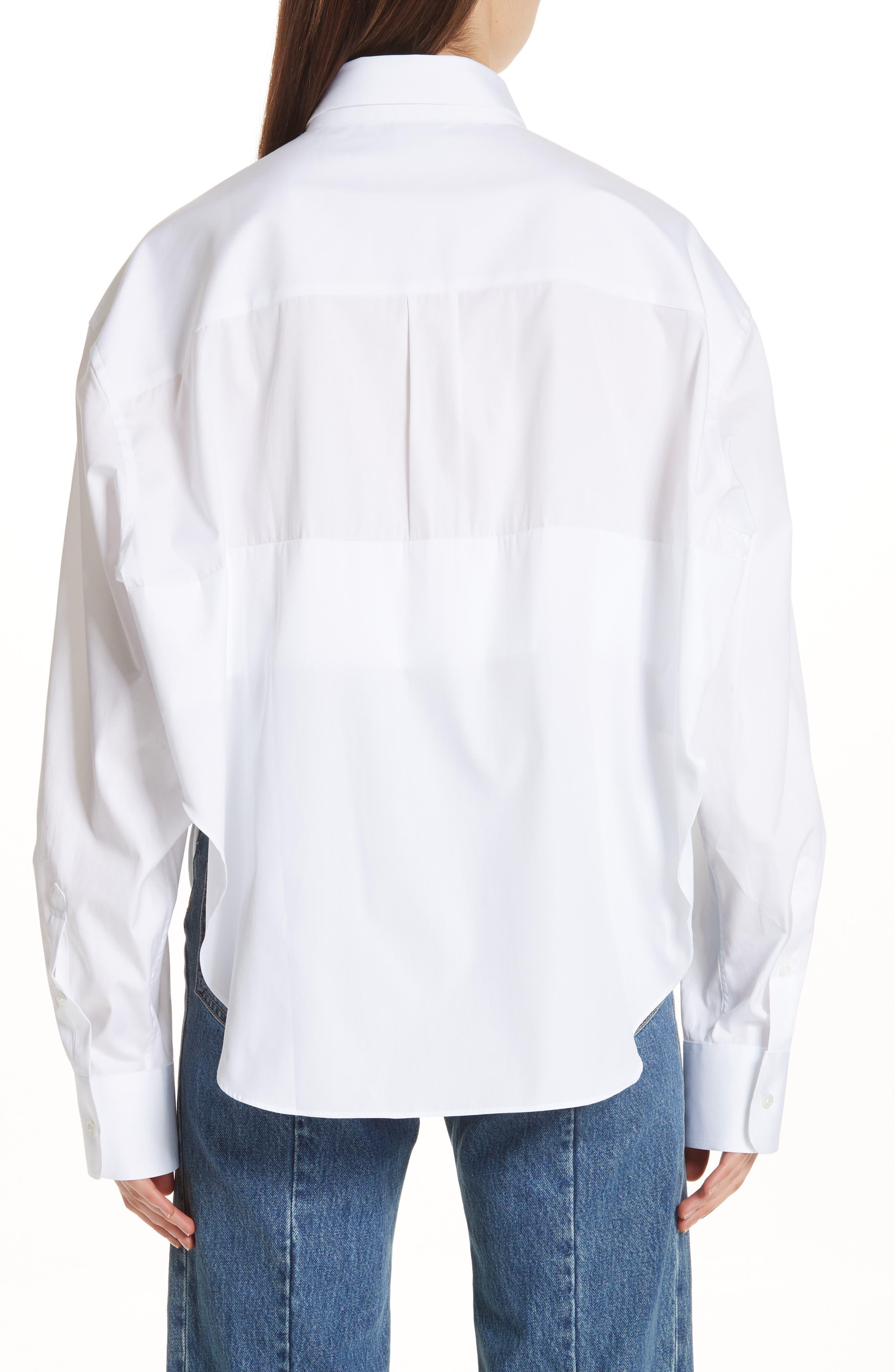 Crop Cotton Shirt,                             Alternate thumbnail 2, color,                             100