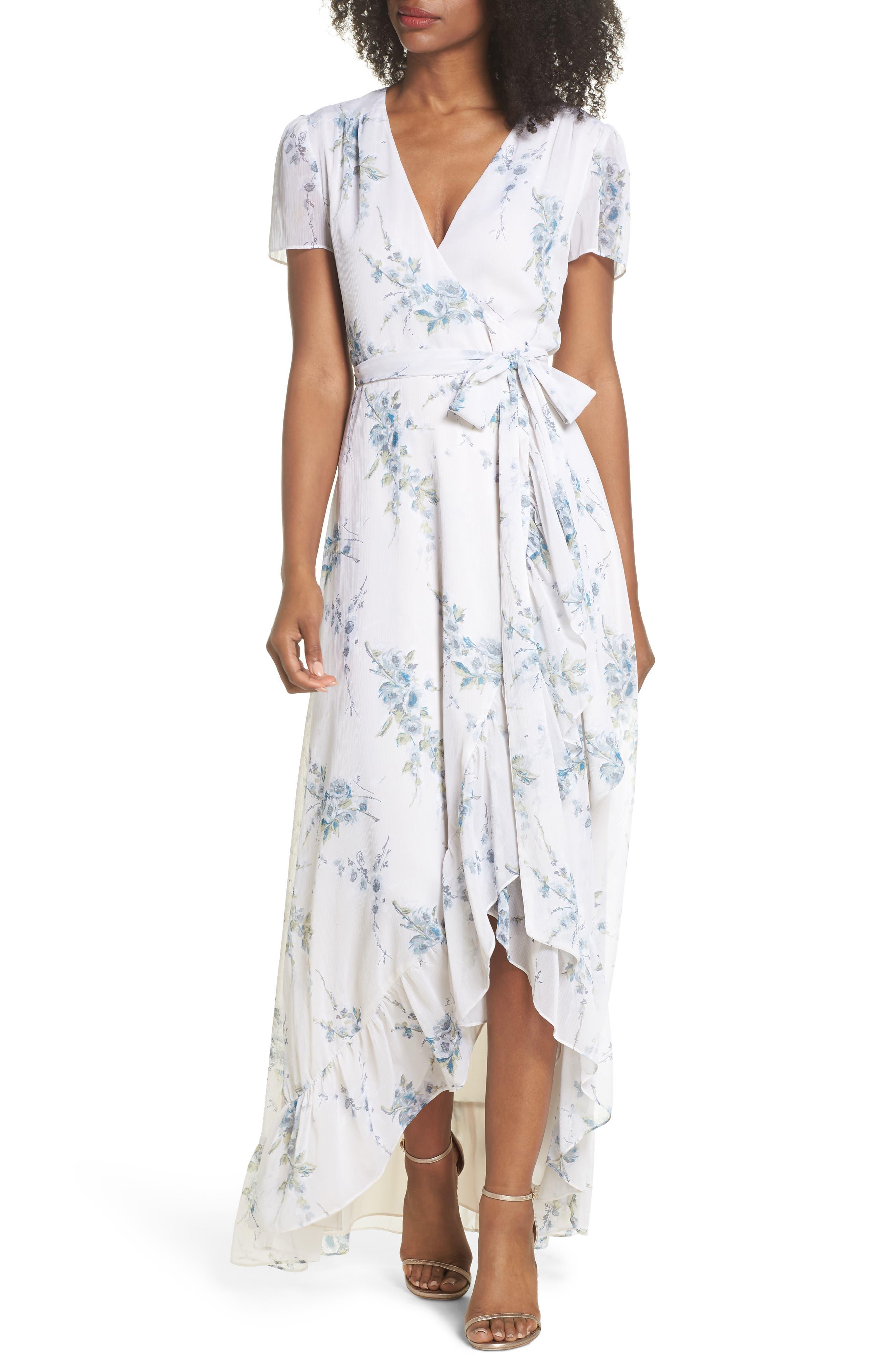 The Natasha Floral Wrap Maxi Dress,                             Main thumbnail 1, color,                             BLUE GARDEN FLORAL
