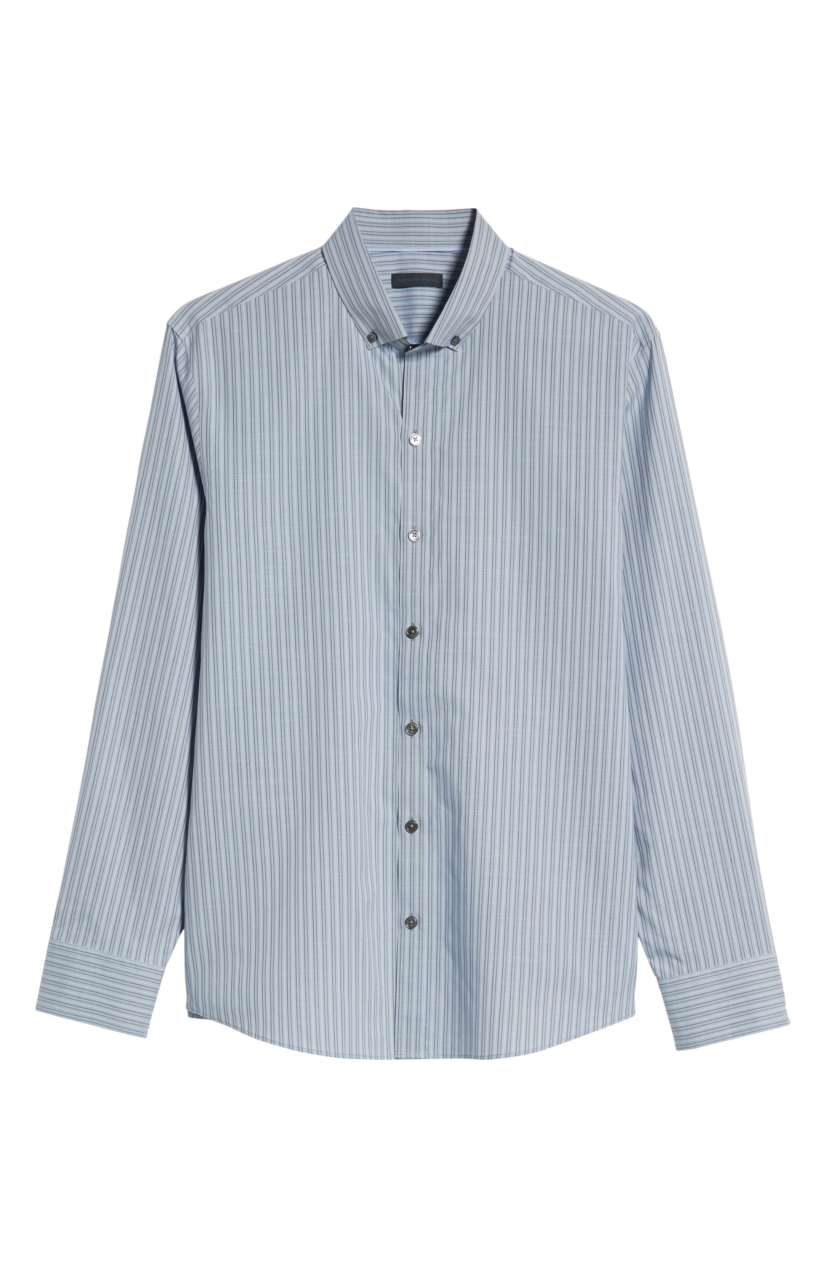 Vinnie Regular Fit Stripe Sport Shirt,                             Alternate thumbnail 5, color,                             SLATE