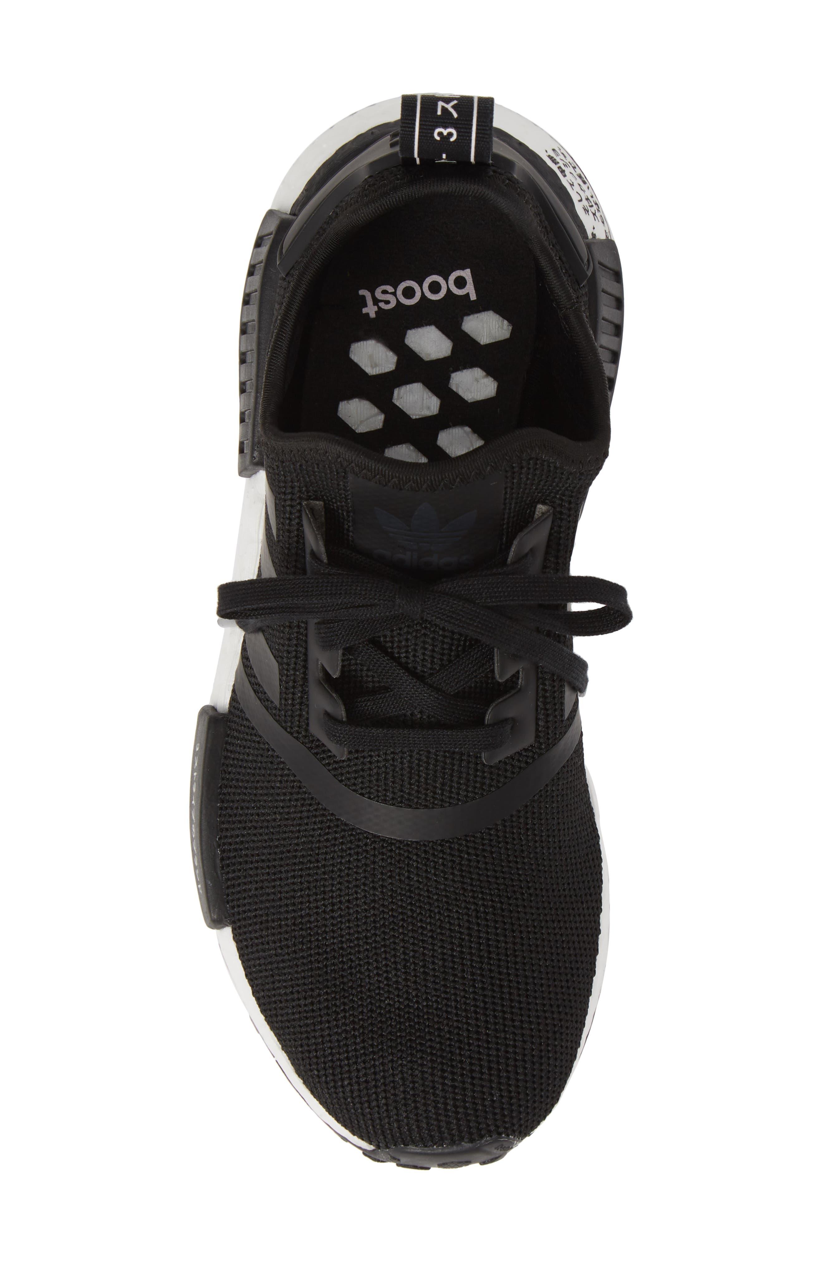 NMD R1 Sneaker,                             Alternate thumbnail 5, color,                             CORE BLACK/ BLACK/ ORCHID TINT