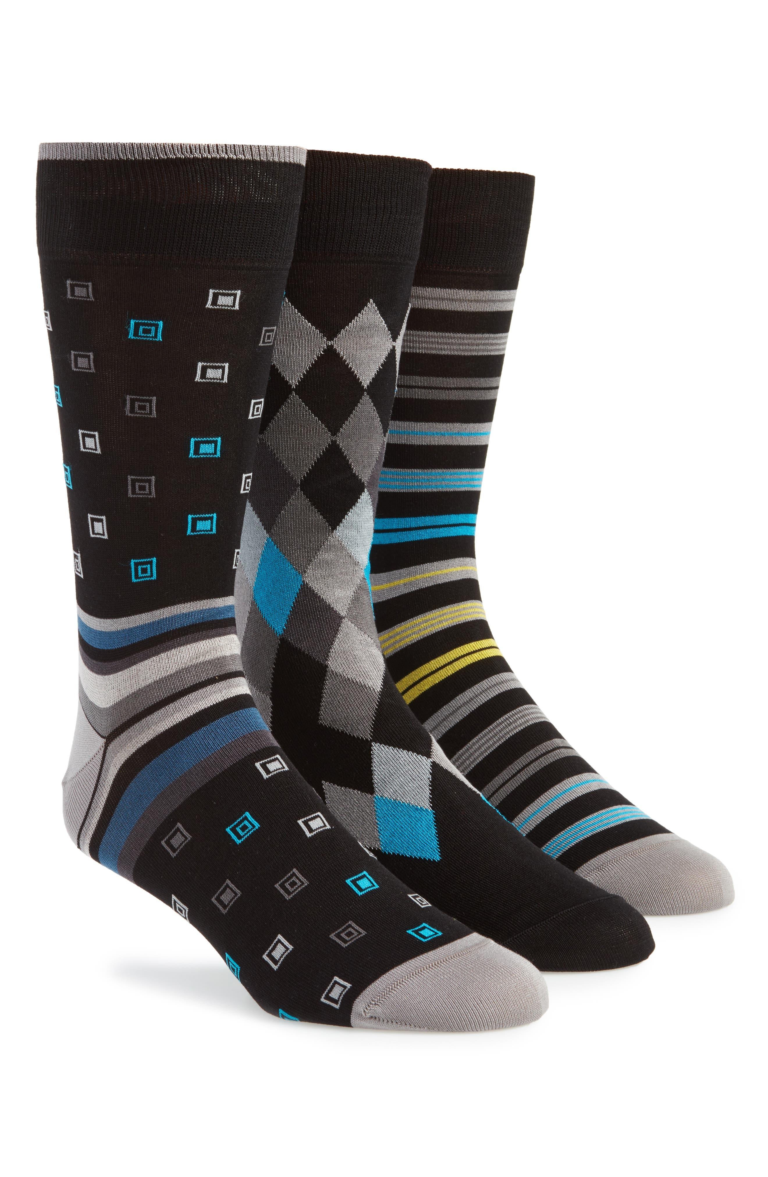 3-Pack Assorted Mercerized Cotton Blend Sock Gift Set,                         Main,                         color,