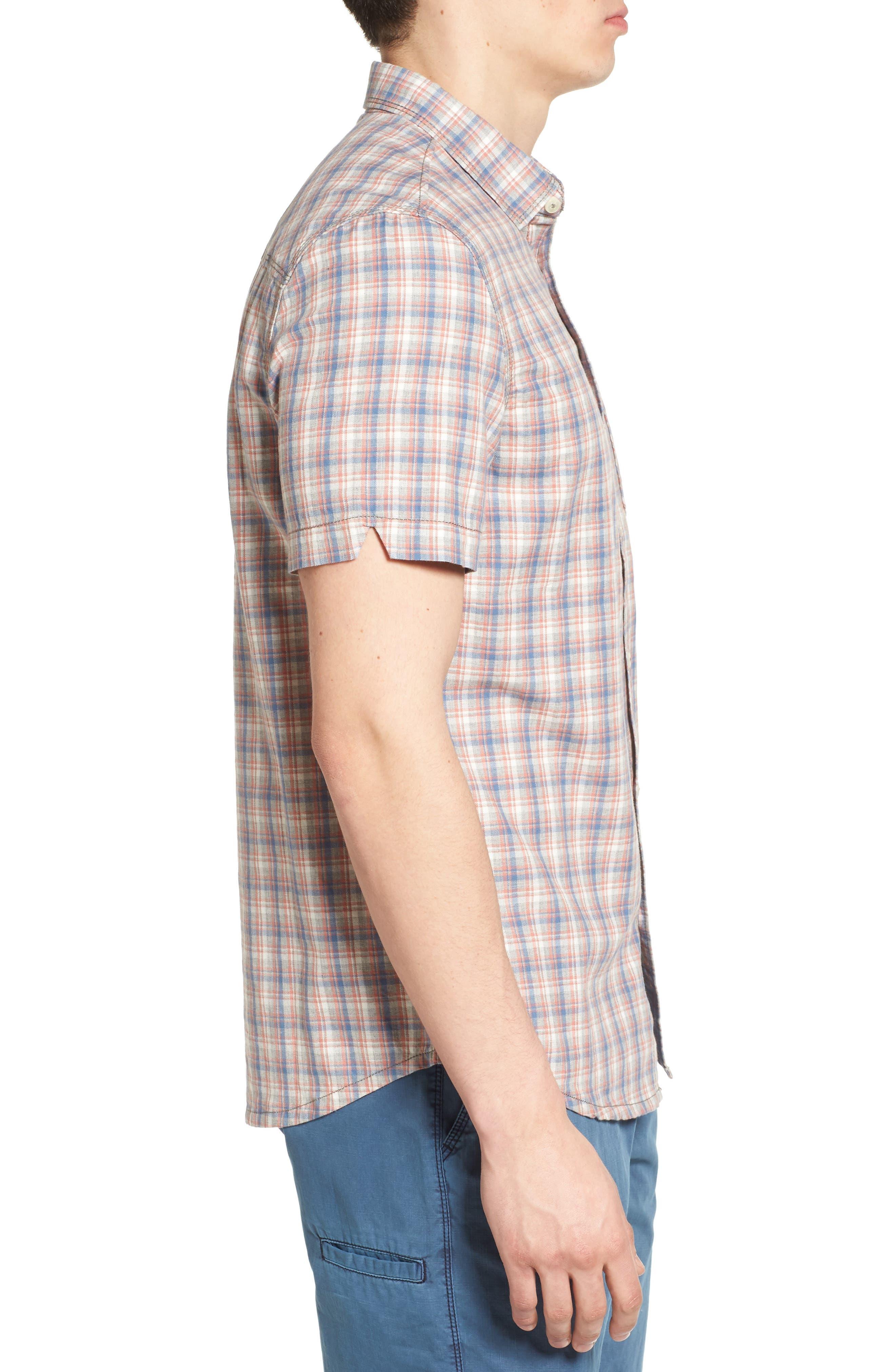 Solana Regular Fit Herringbone Plaid Sport Shirt,                             Alternate thumbnail 3, color,                             045