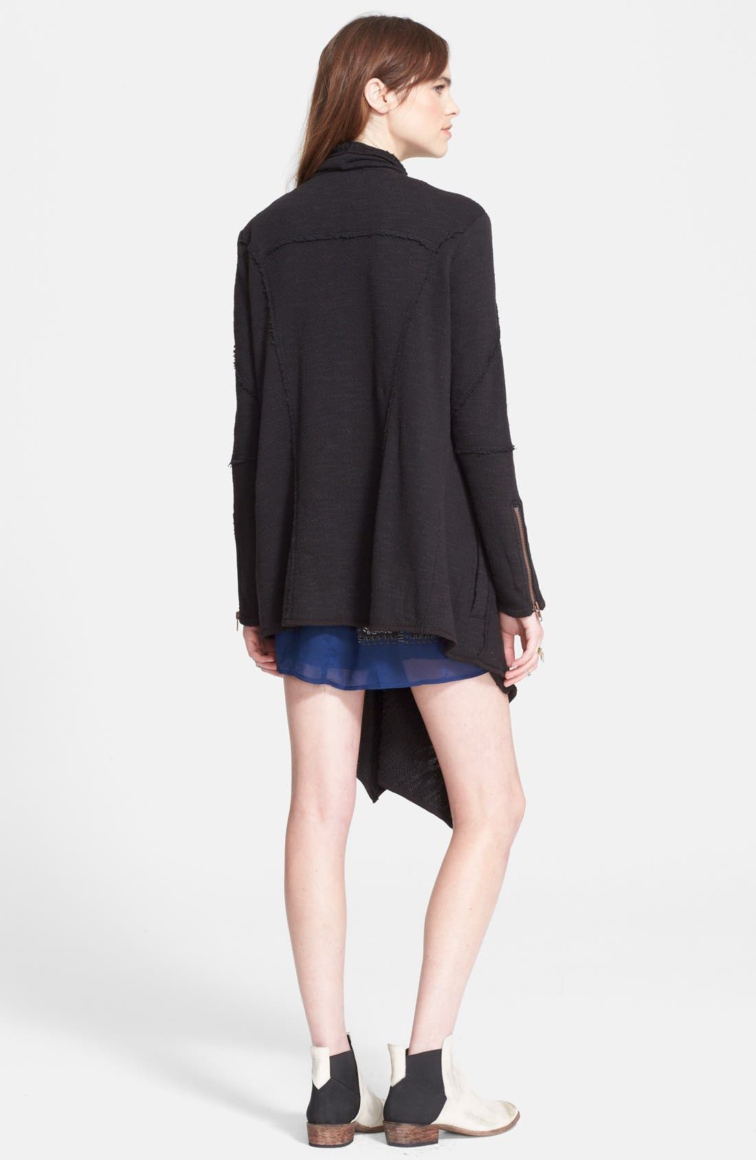 FREE PEOPLE,                             'In The Loop' Open Front Cardigan,                             Alternate thumbnail 3, color,                             001