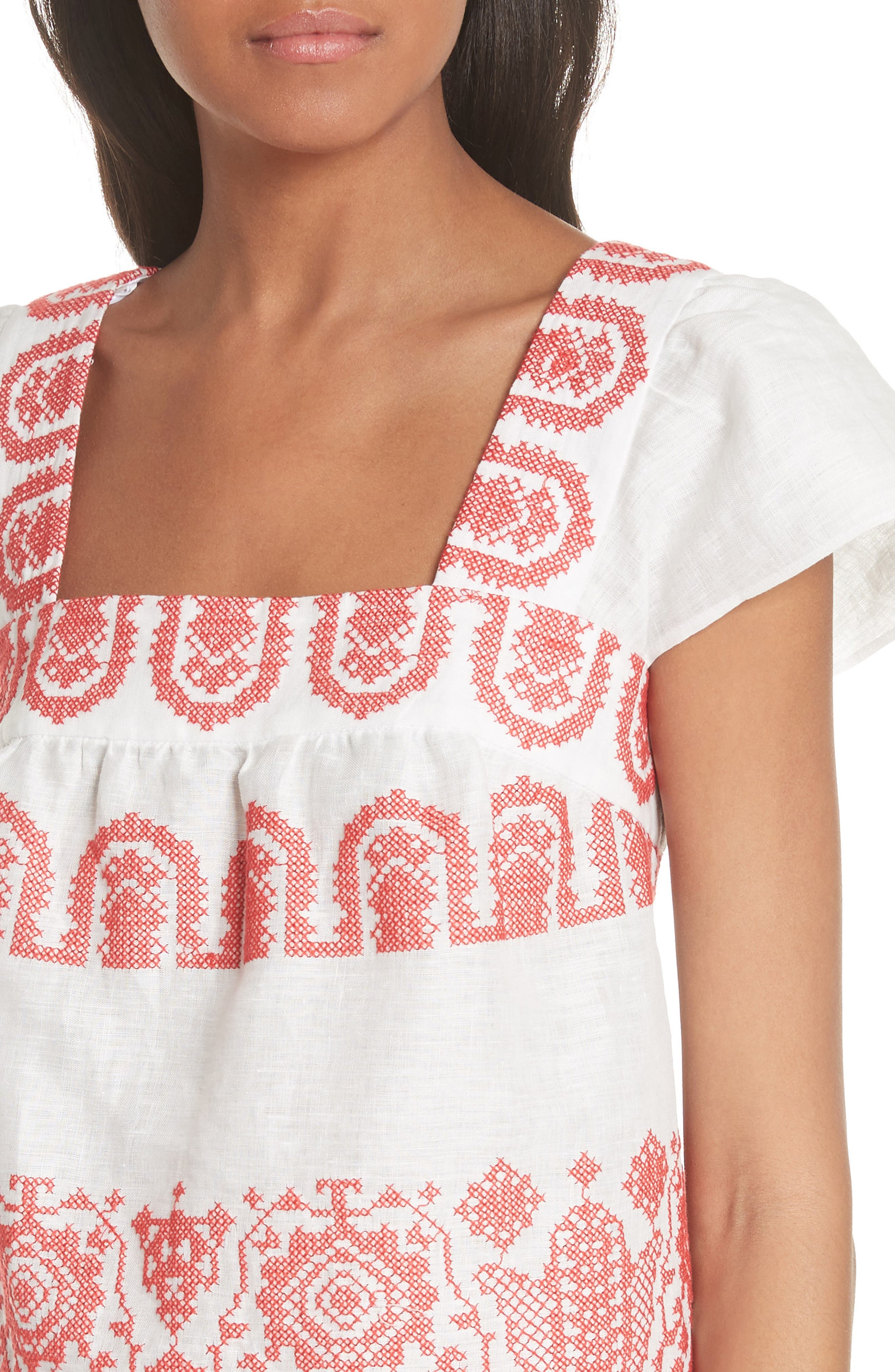 Mykonos Embroidered Crop Square Neck Linen Top,                             Alternate thumbnail 4, color,                             POPPY