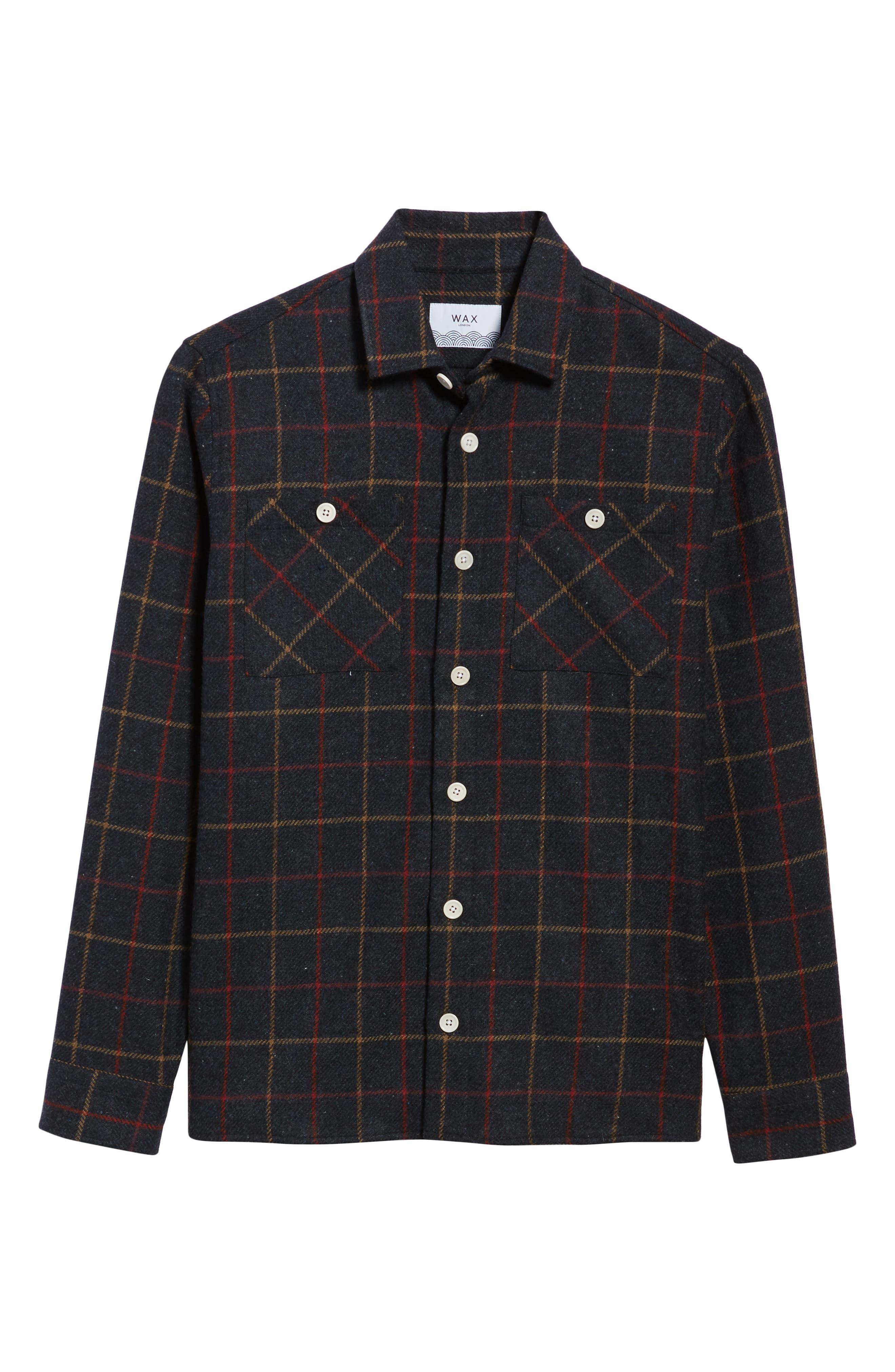 Whiting Tattersall Wool Shirt Jacket,                             Alternate thumbnail 6, color,                             BLACK WOOL CHECK