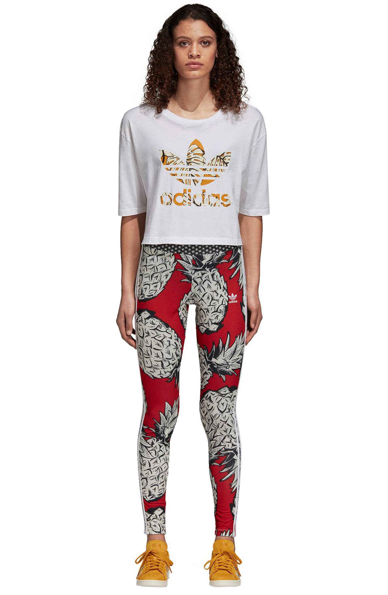 ADIDAS ORIGINALS,                             x The FARM Company Print Tights,                             Alternate thumbnail 9, color,                             007