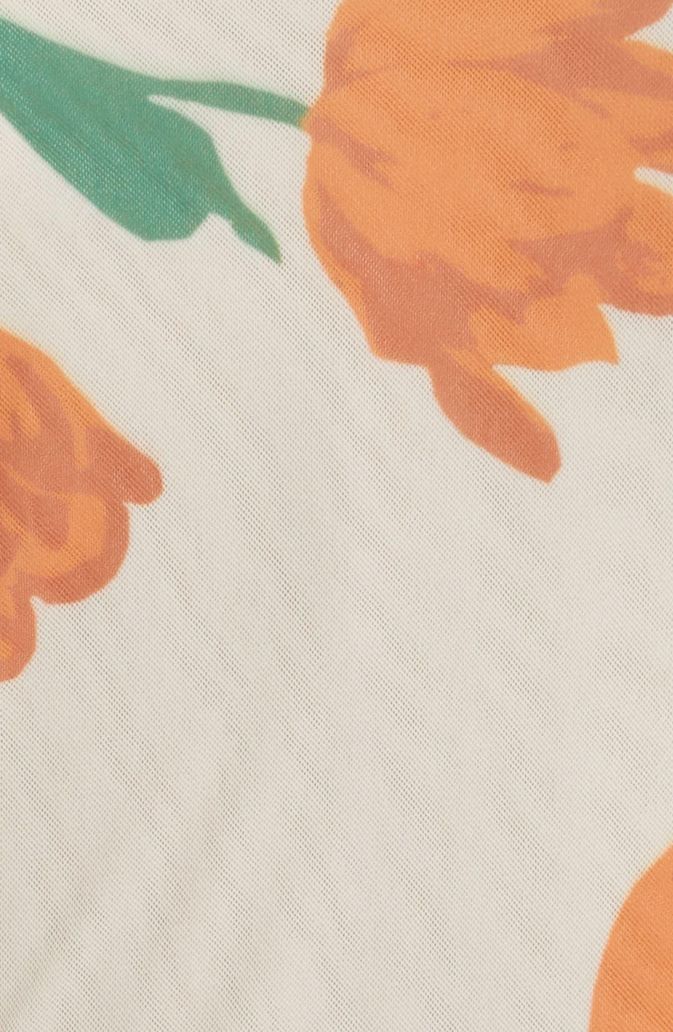 Tilden Floral Print Mesh Wrap Top,                             Alternate thumbnail 5, color,                             900