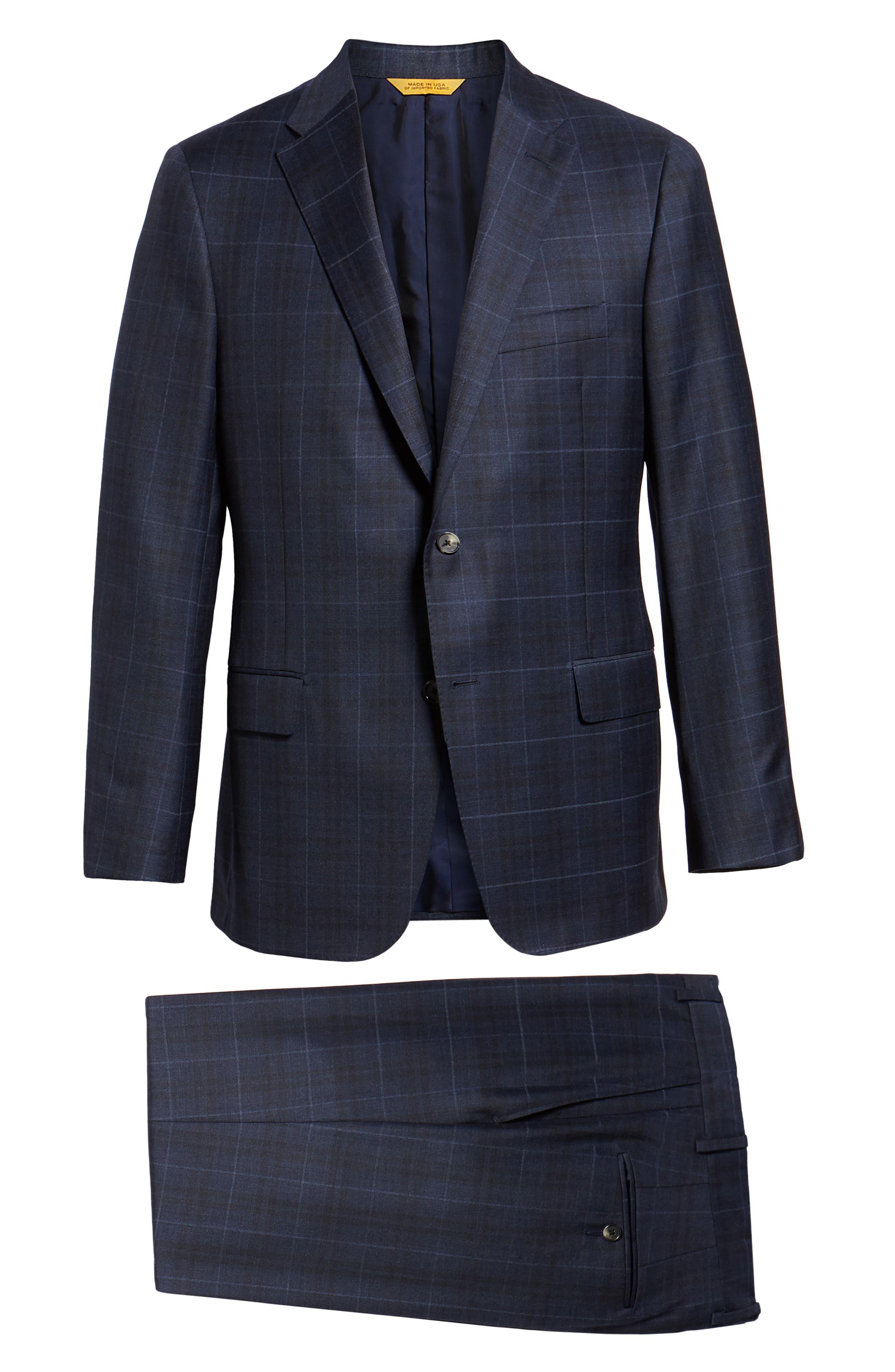 Classic Fit Plaid Wool Suit,                             Alternate thumbnail 8, color,                             DARK BLUE