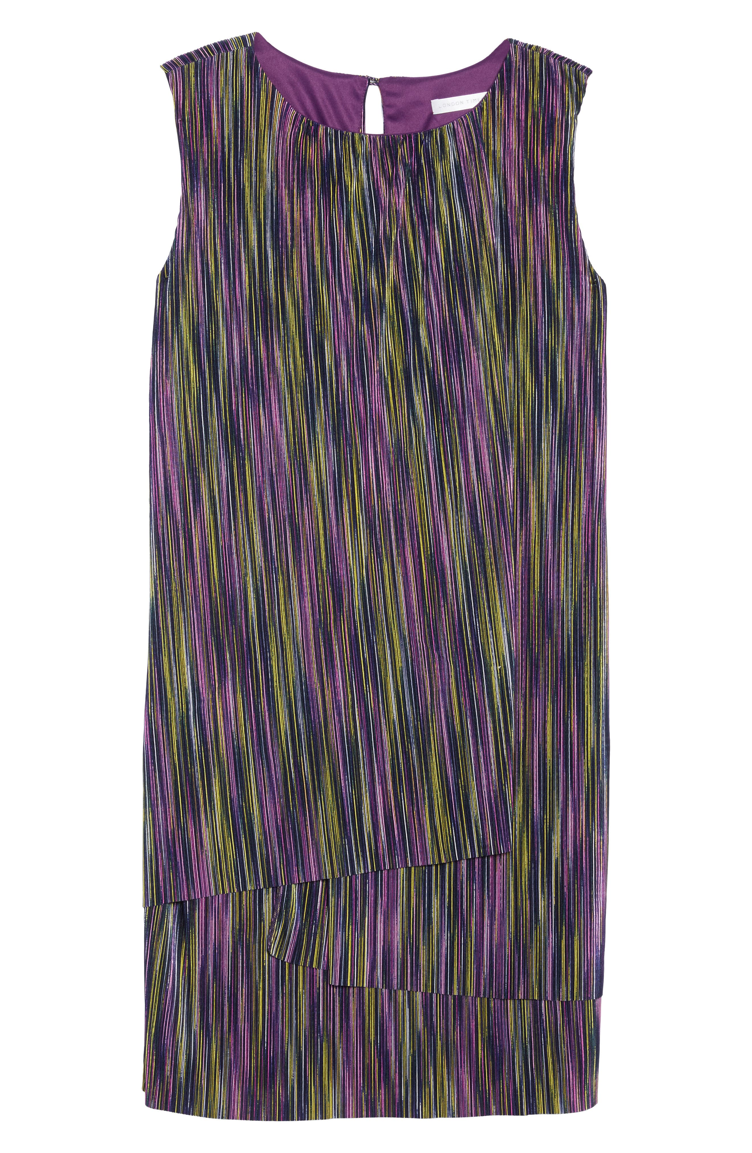 London Time Bodre Layered Dress,                             Alternate thumbnail 6, color,                             MULTI